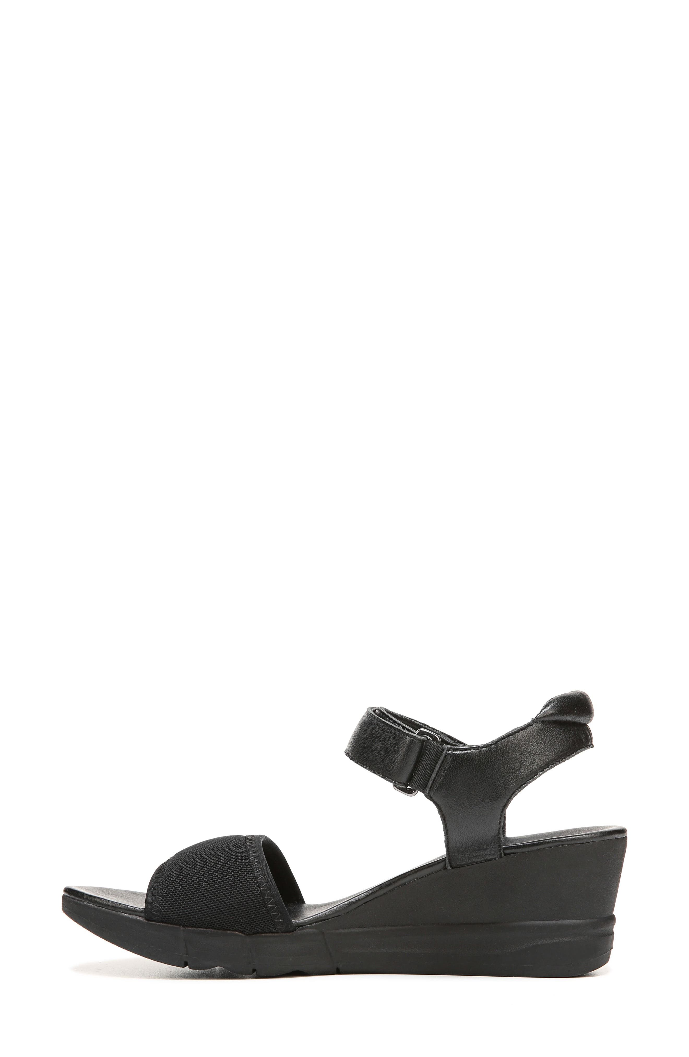 Irena Wedge Sandal,                             Alternate thumbnail 4, color,                             Black Leather
