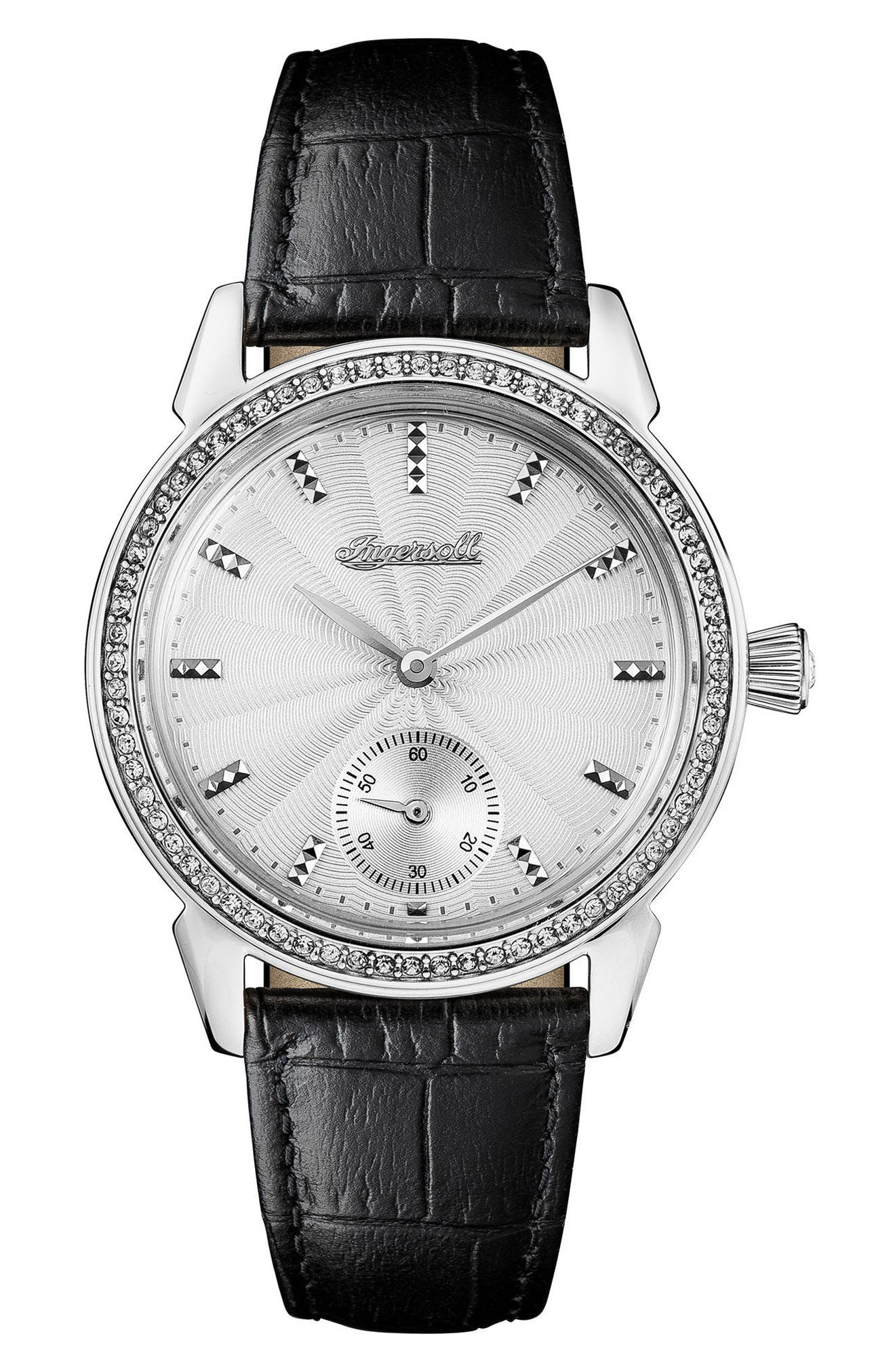 Ingersoll Crystal Accent Leather Strap Watch, 34mm,                             Main thumbnail 1, color,                             Black/ White/ Silver
