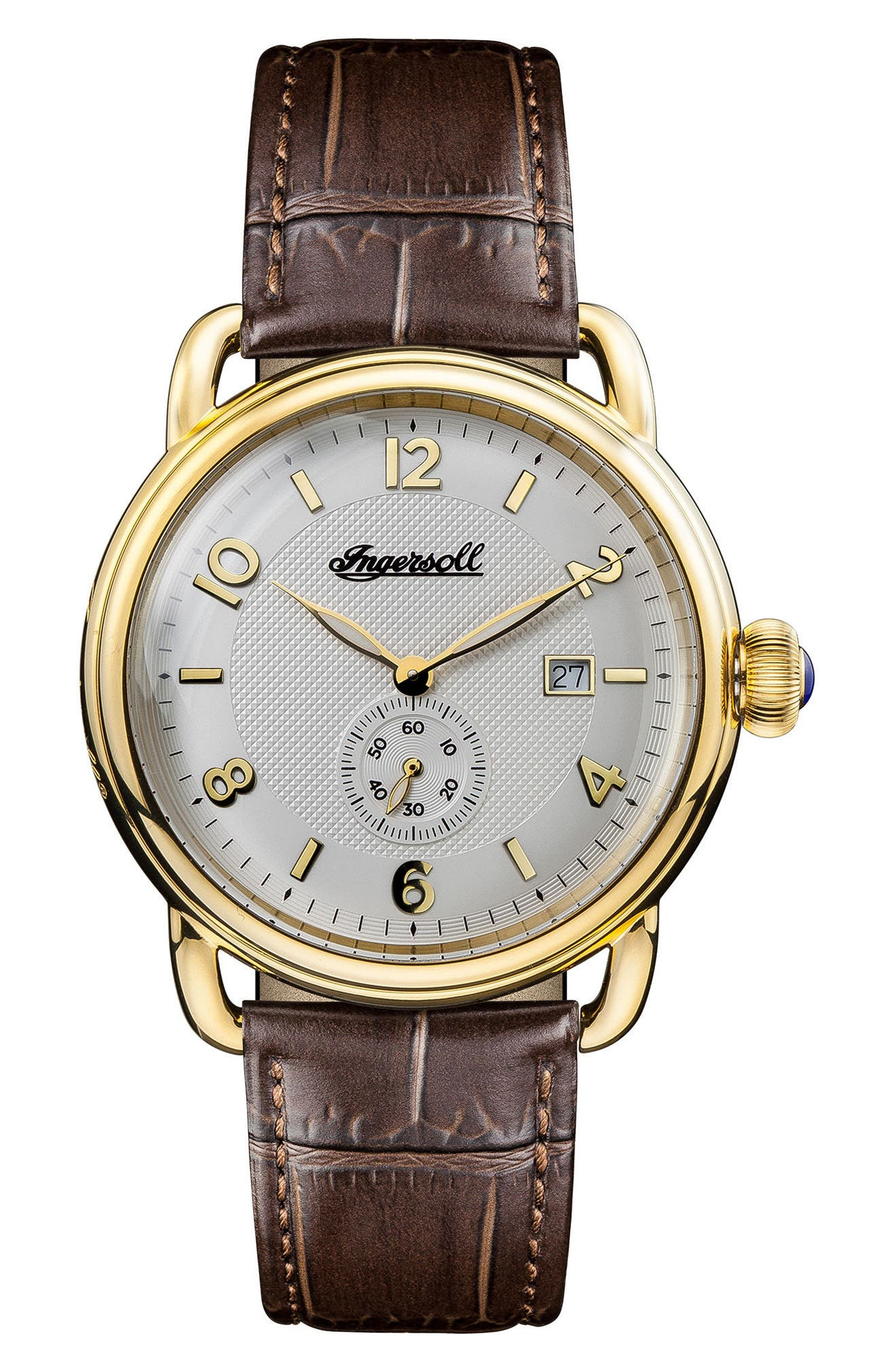 Ingersoll New England Leather Strap Watch, 42mm,                         Main,                         color, Brown/ White/ Gold