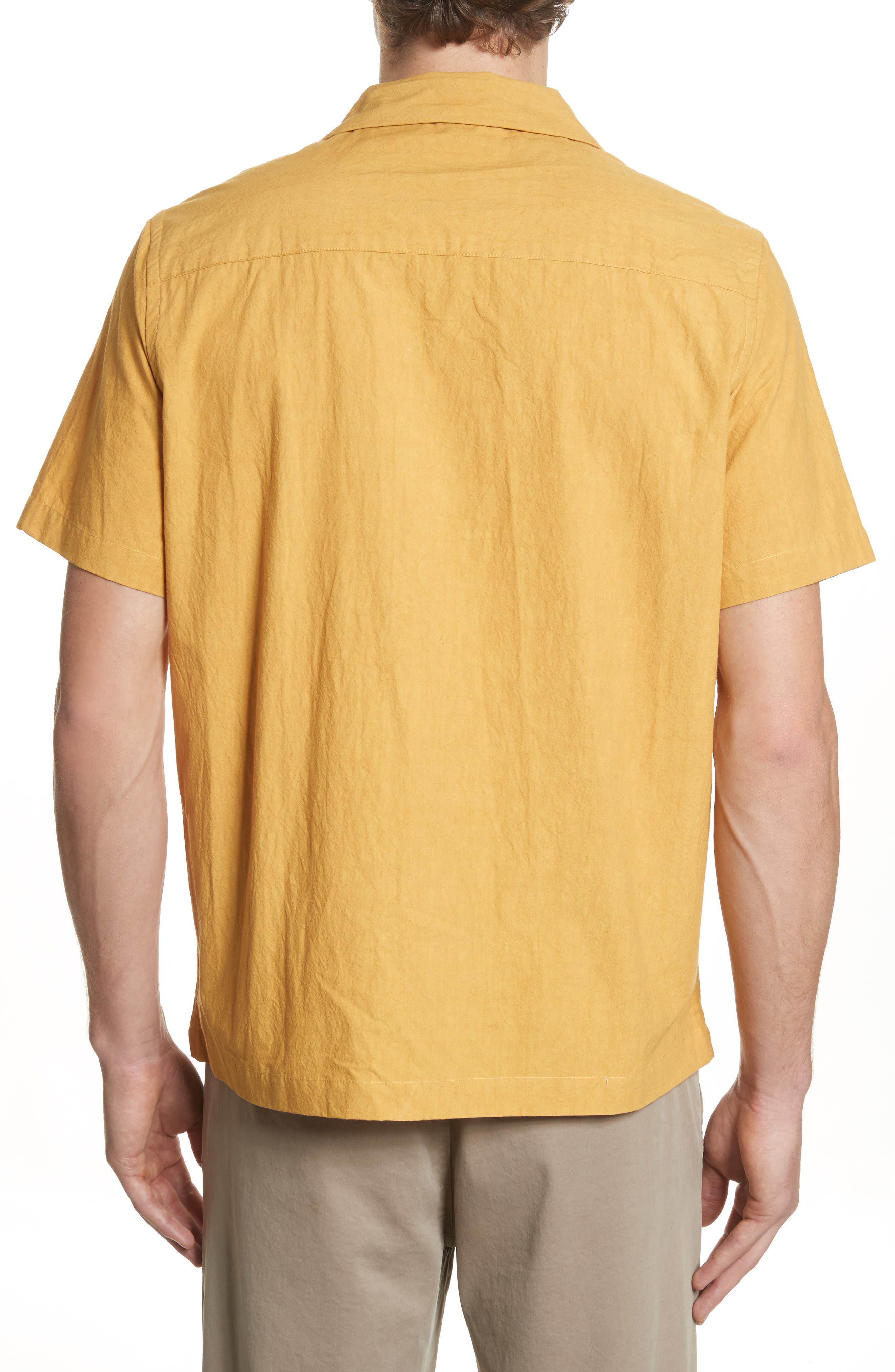 Canty Woven Camp Shirt,                             Alternate thumbnail 3, color,                             Dusty Amber