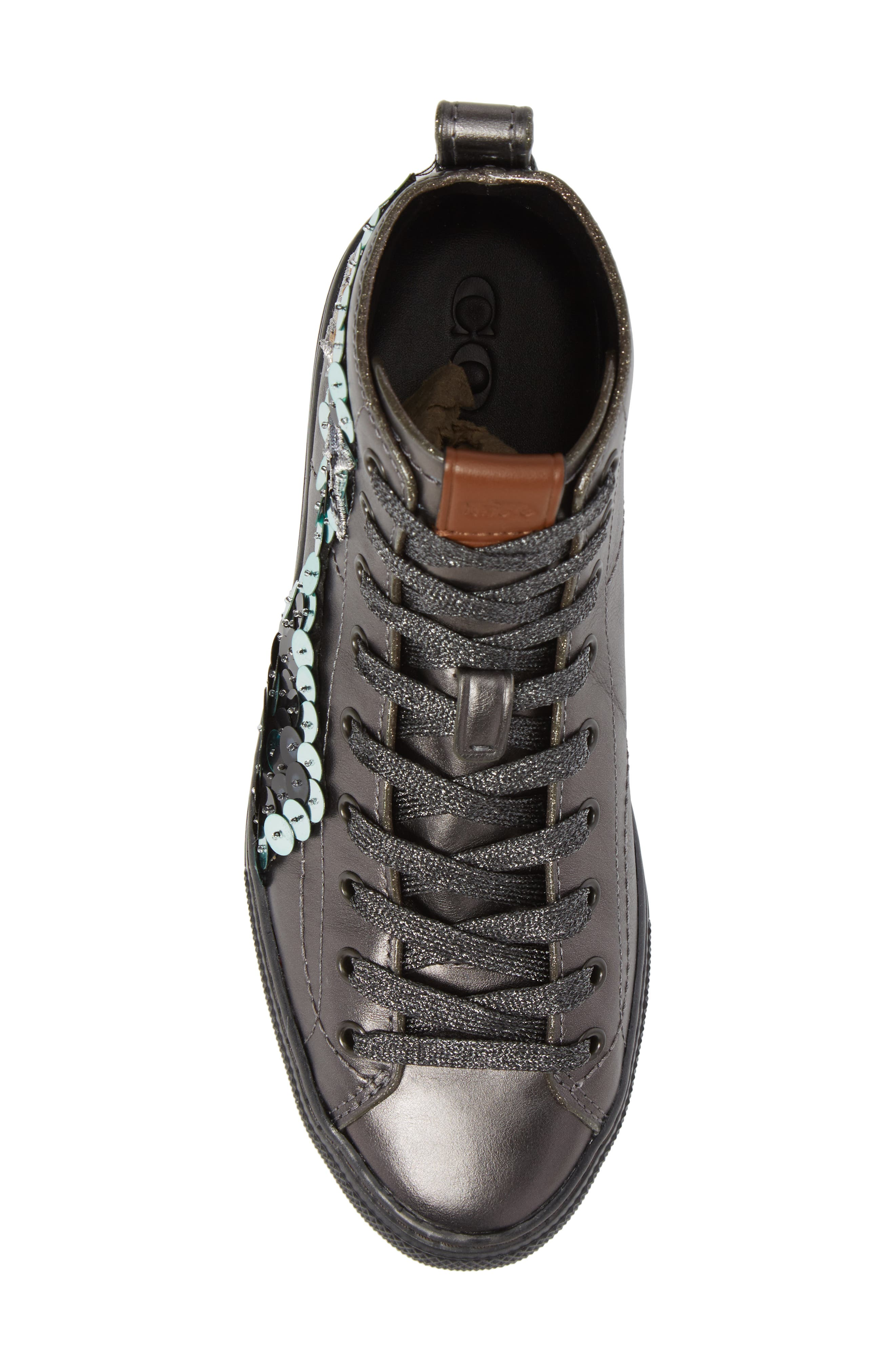 Patch High Top Sneaker,                             Alternate thumbnail 4, color,                             Gunmetal Leather