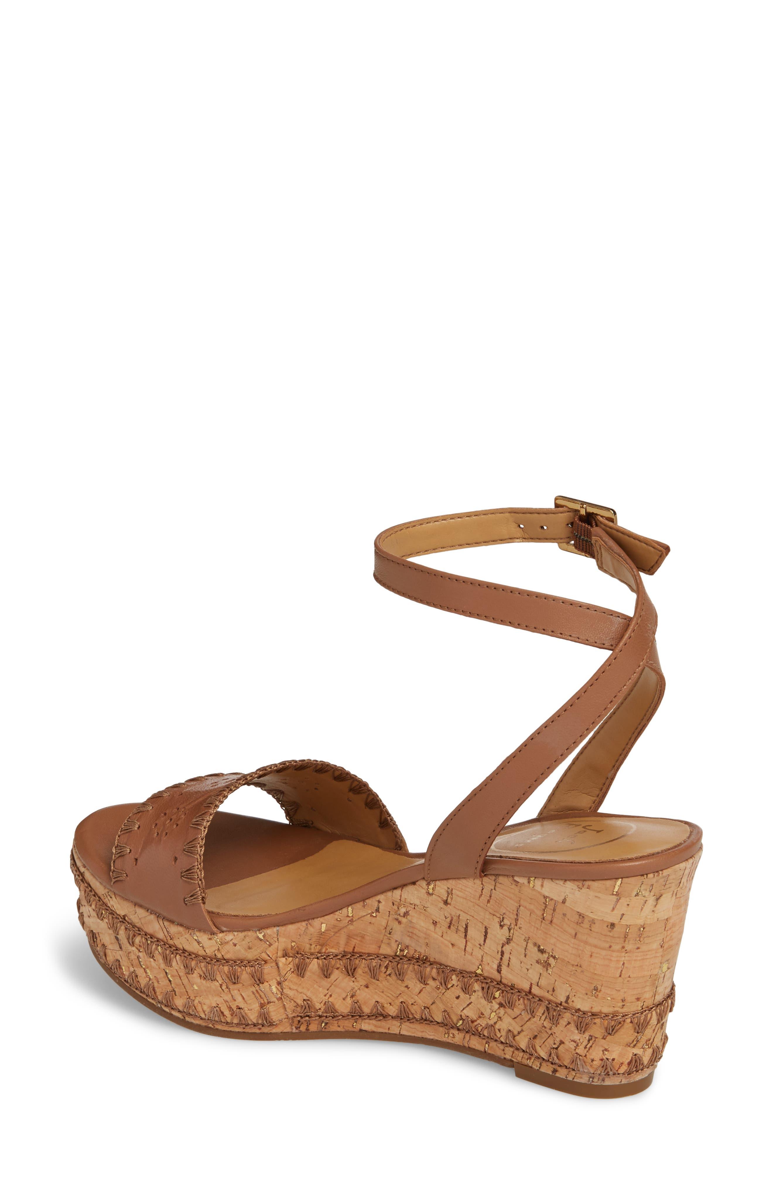 Lennon Platform Wedge Sandal,                             Alternate thumbnail 2, color,                             Cognac Leather