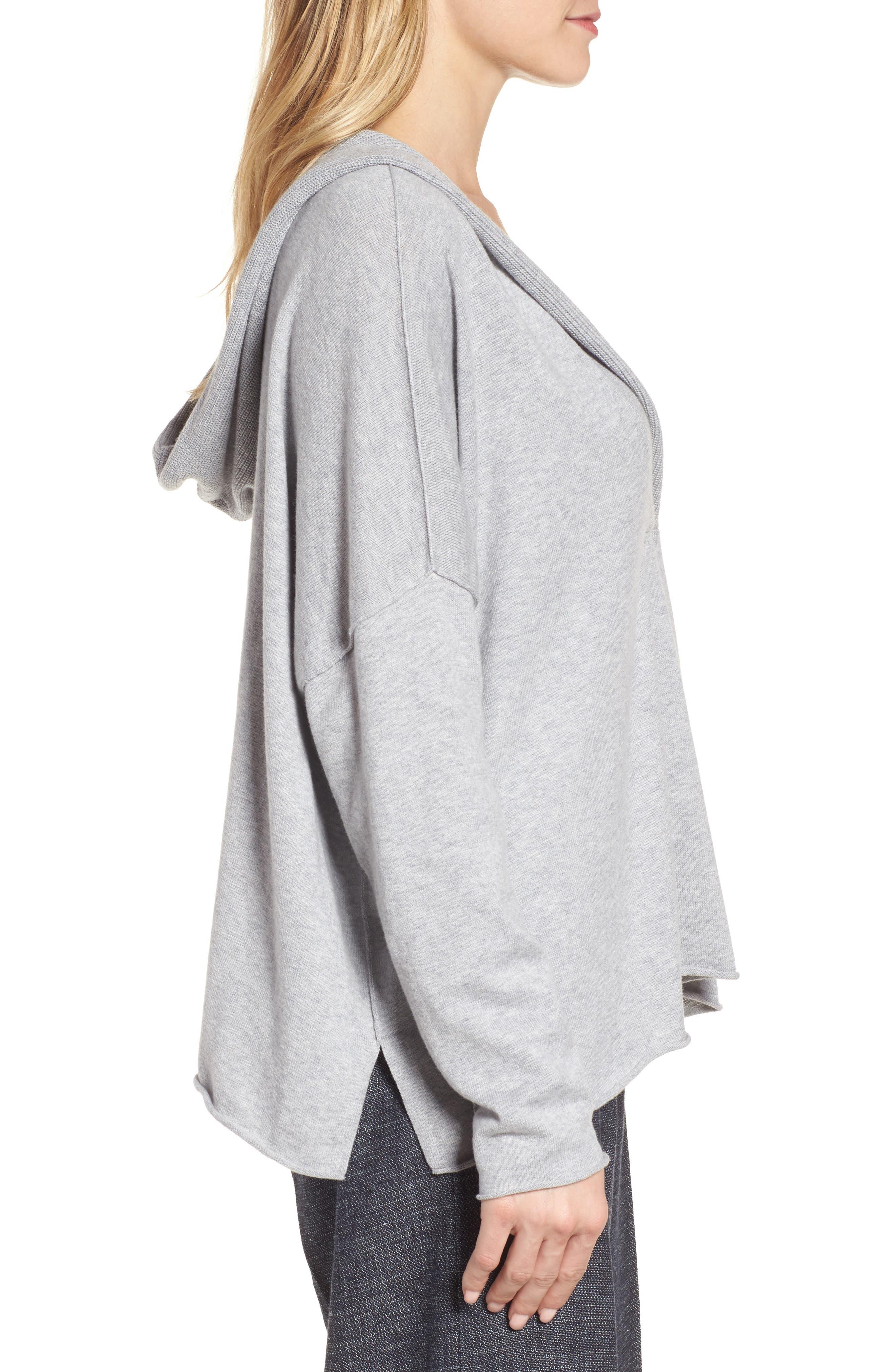 Alternate Image 3  - Eileen Fisher Hooded Organic Cotton Box Sweater