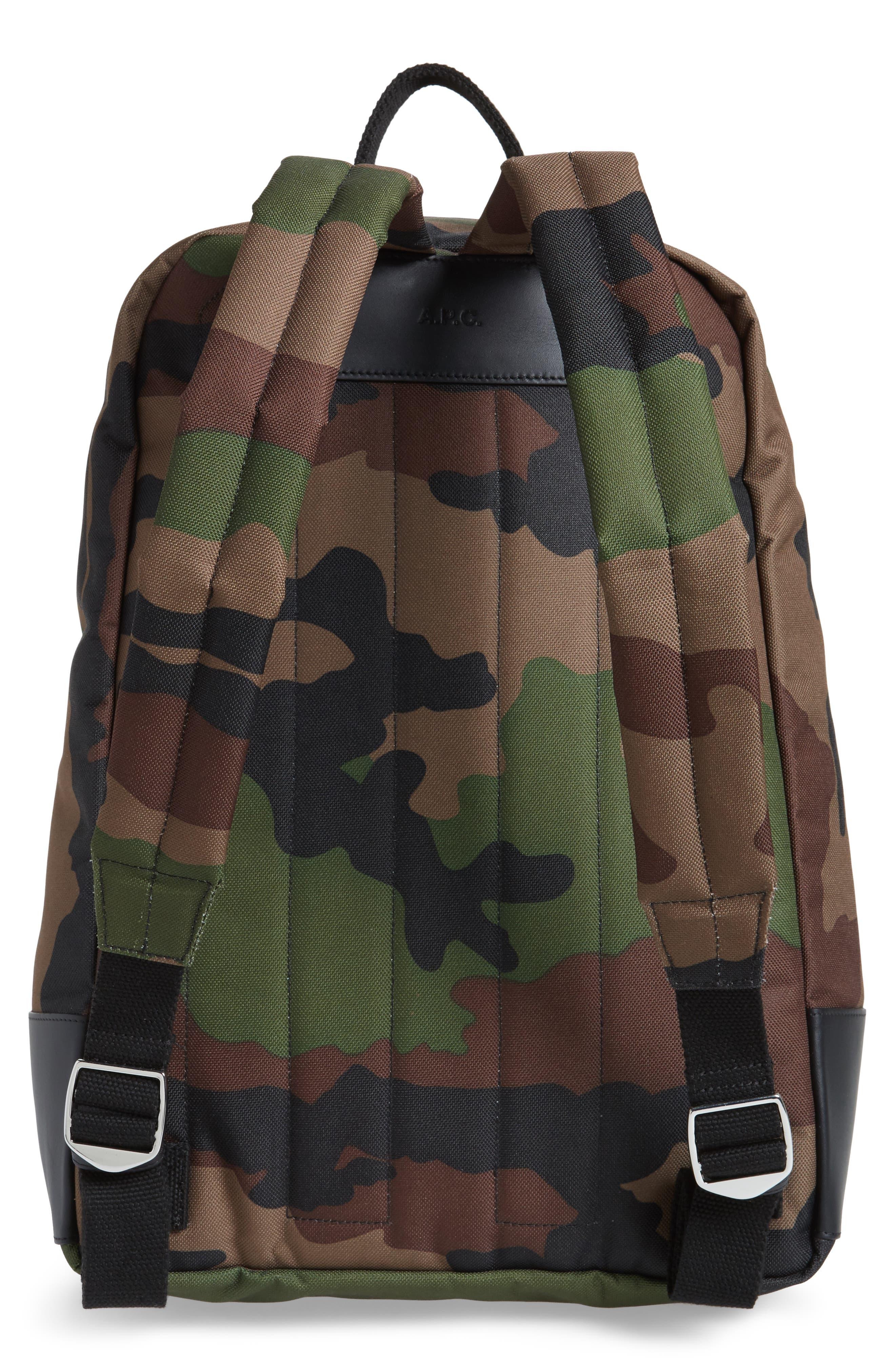 Mickael Camo Print Backpack,                             Alternate thumbnail 3, color,                             Kaki Militaire Jac