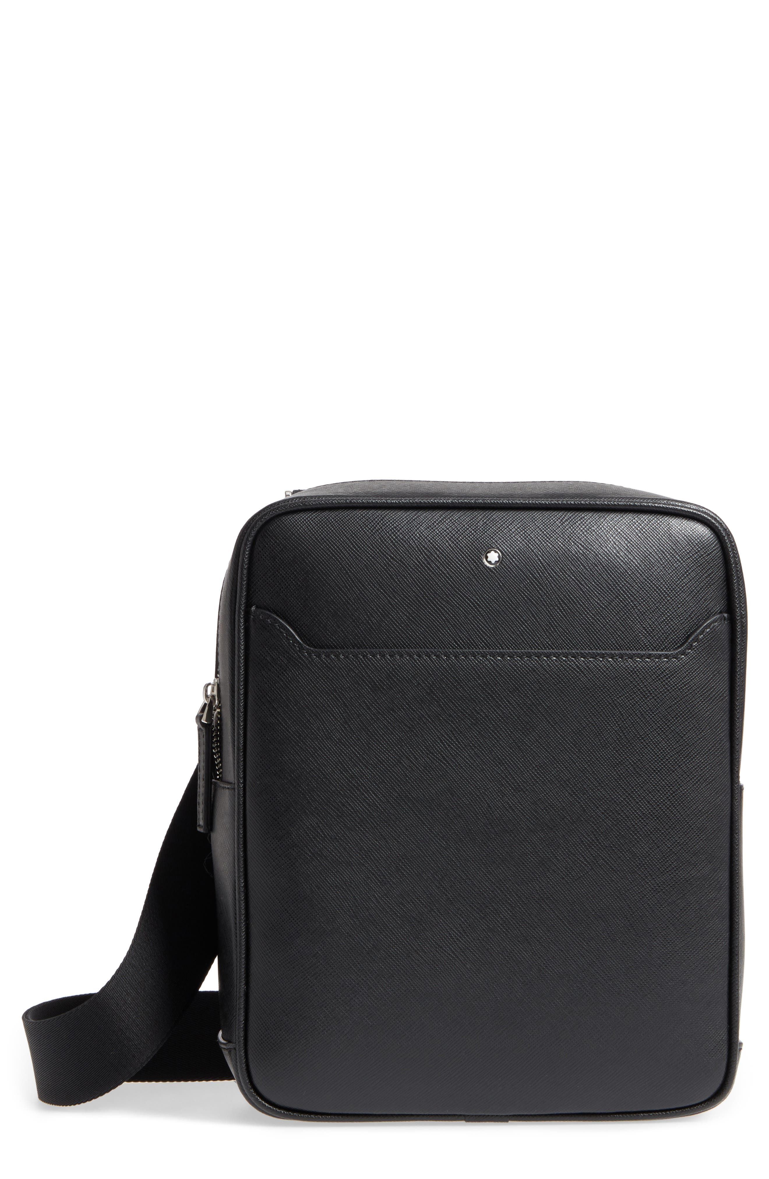 Sartorial North South Leather Bag,                             Main thumbnail 1, color,                             Black