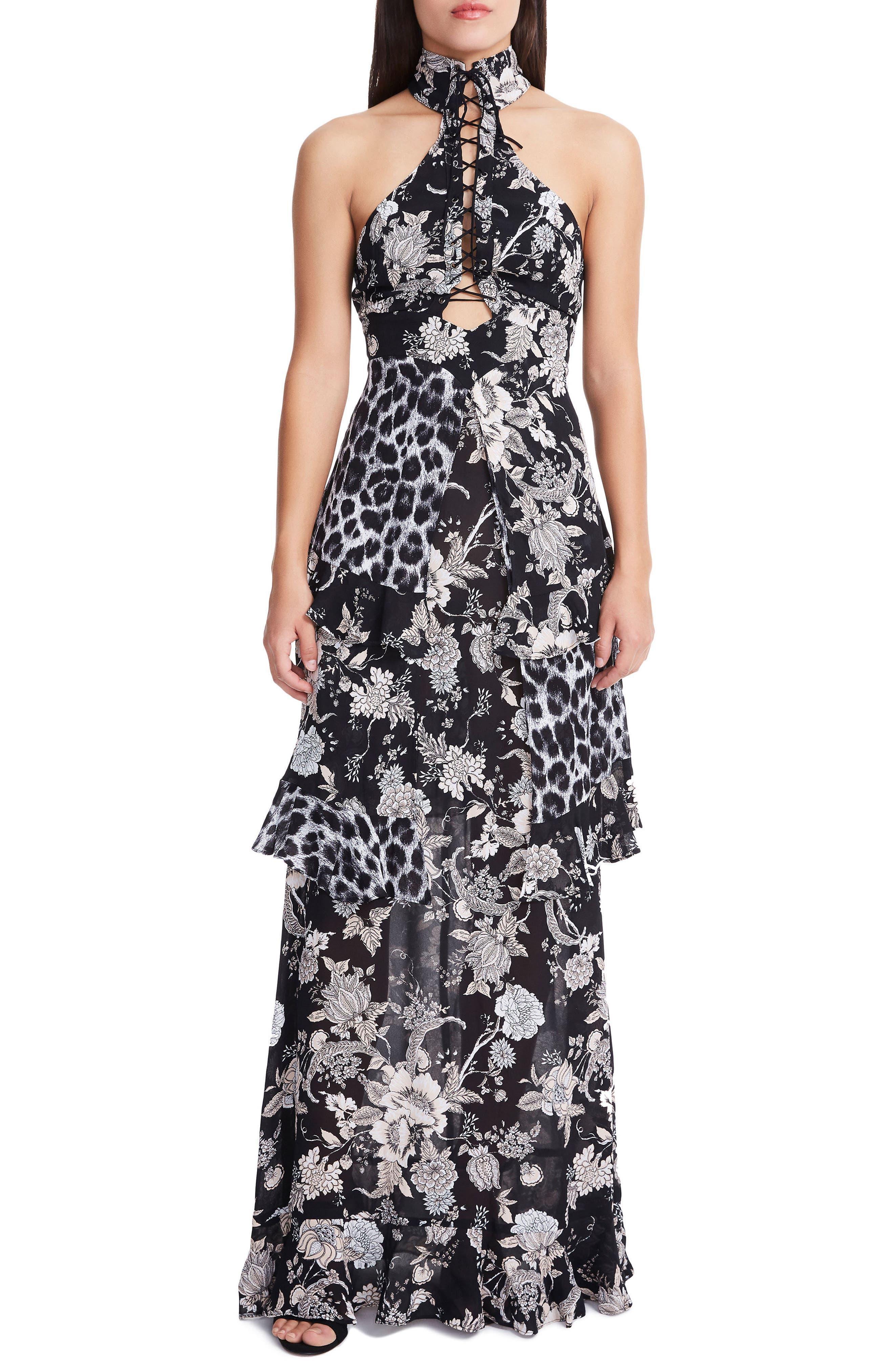 Remington Choker Maxi Dress,                         Main,                         color, Grey Leopard Mix