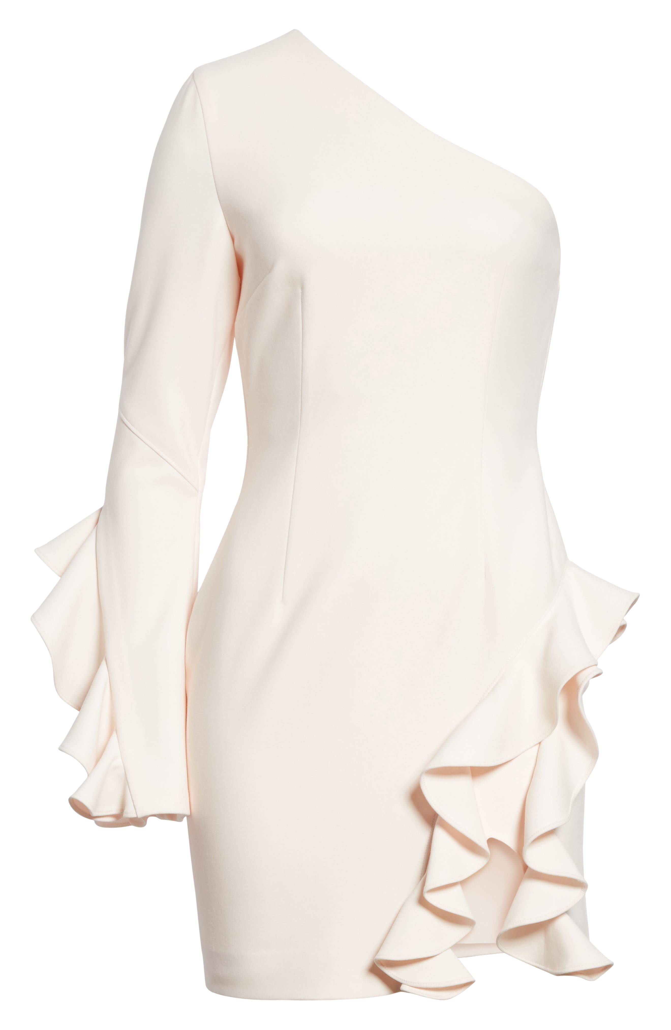 Pia Ruffle Trim One-Shoulder Dress,                             Alternate thumbnail 6, color,                             Pearl Blush