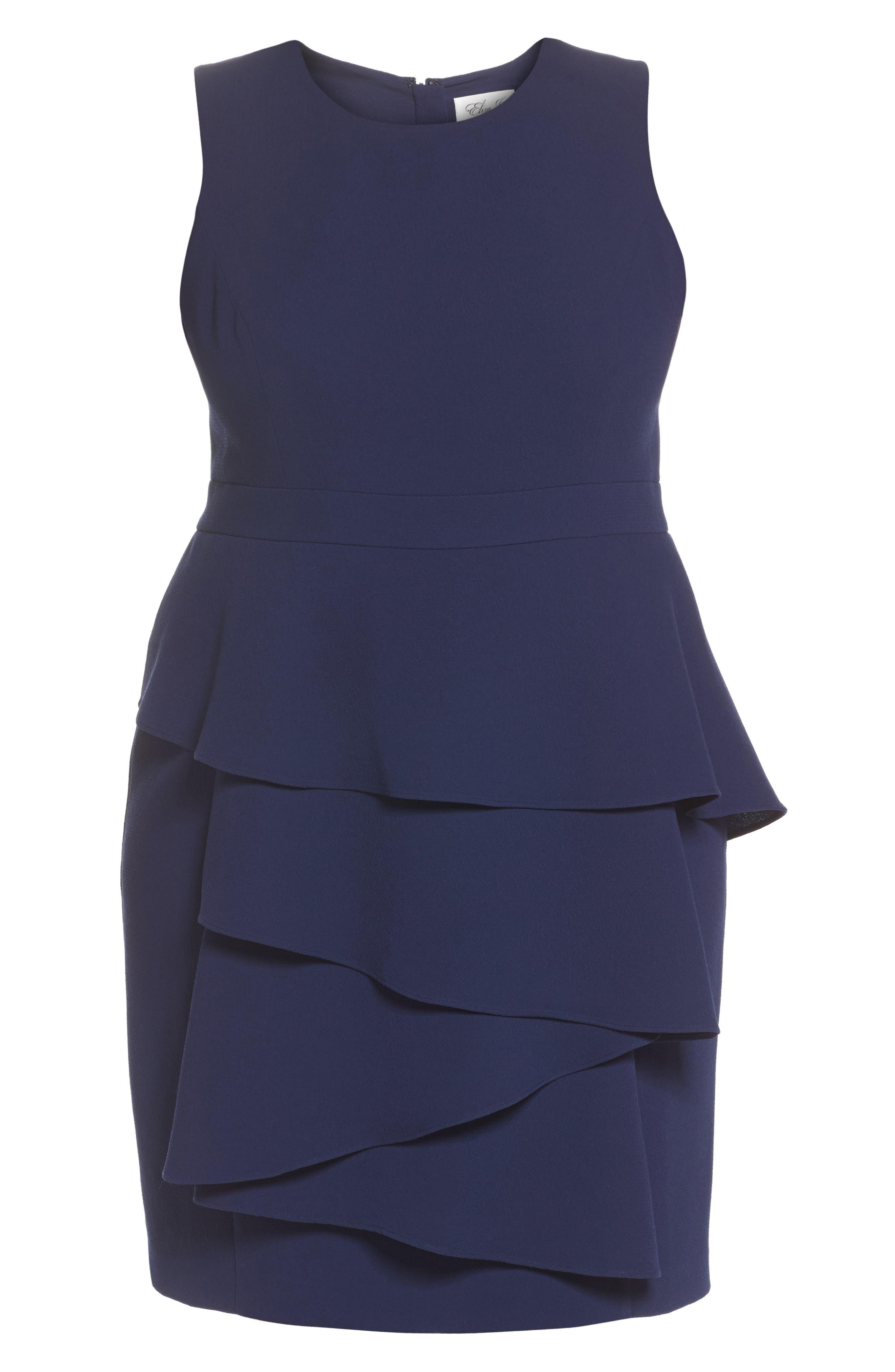 Ella Cascade Crepe Sheath Dress,                             Alternate thumbnail 6, color,                             Indigo