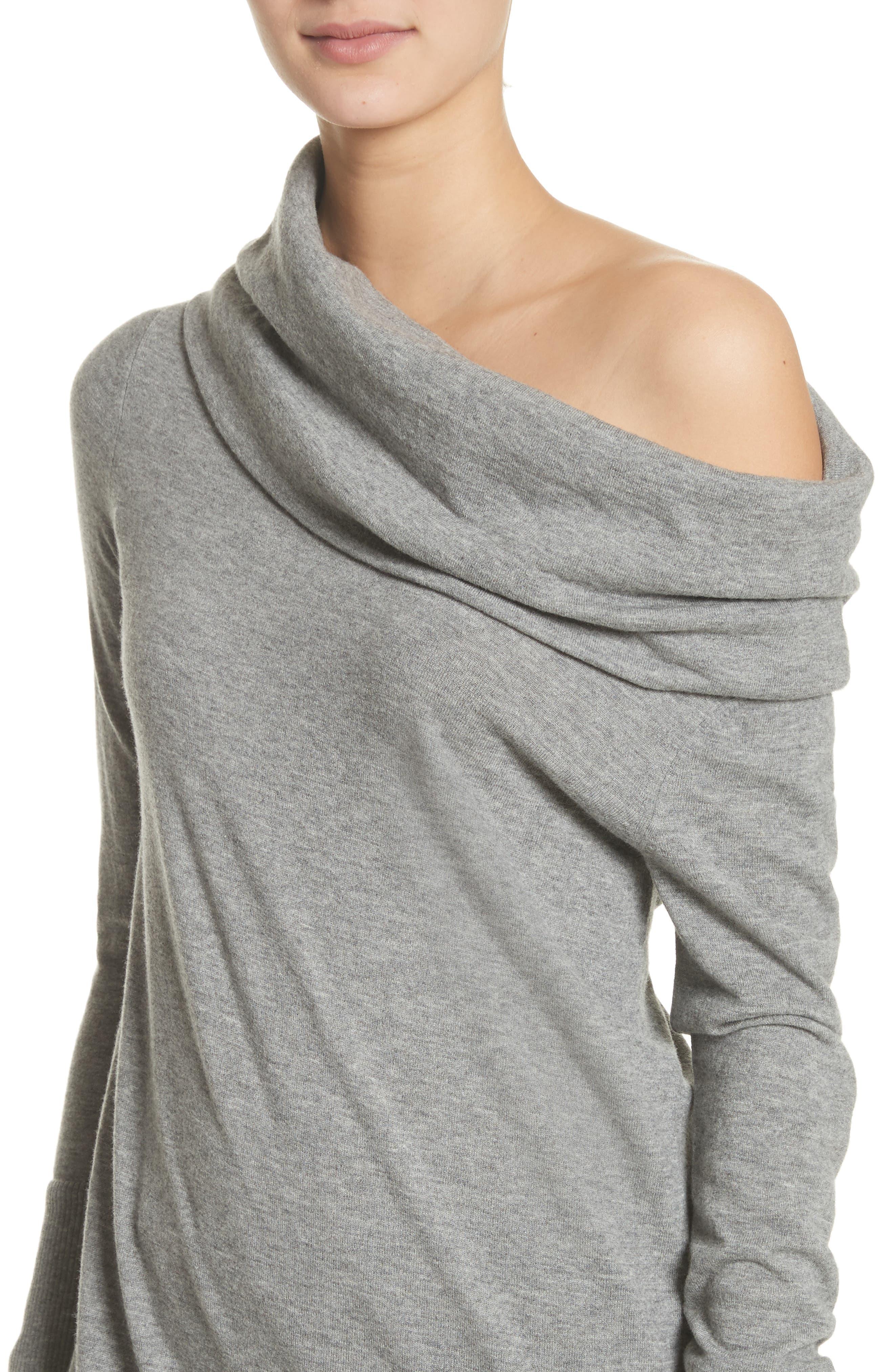 Convertible Off the Shoulder Sweater,                             Alternate thumbnail 4, color,                             Nickel Melange