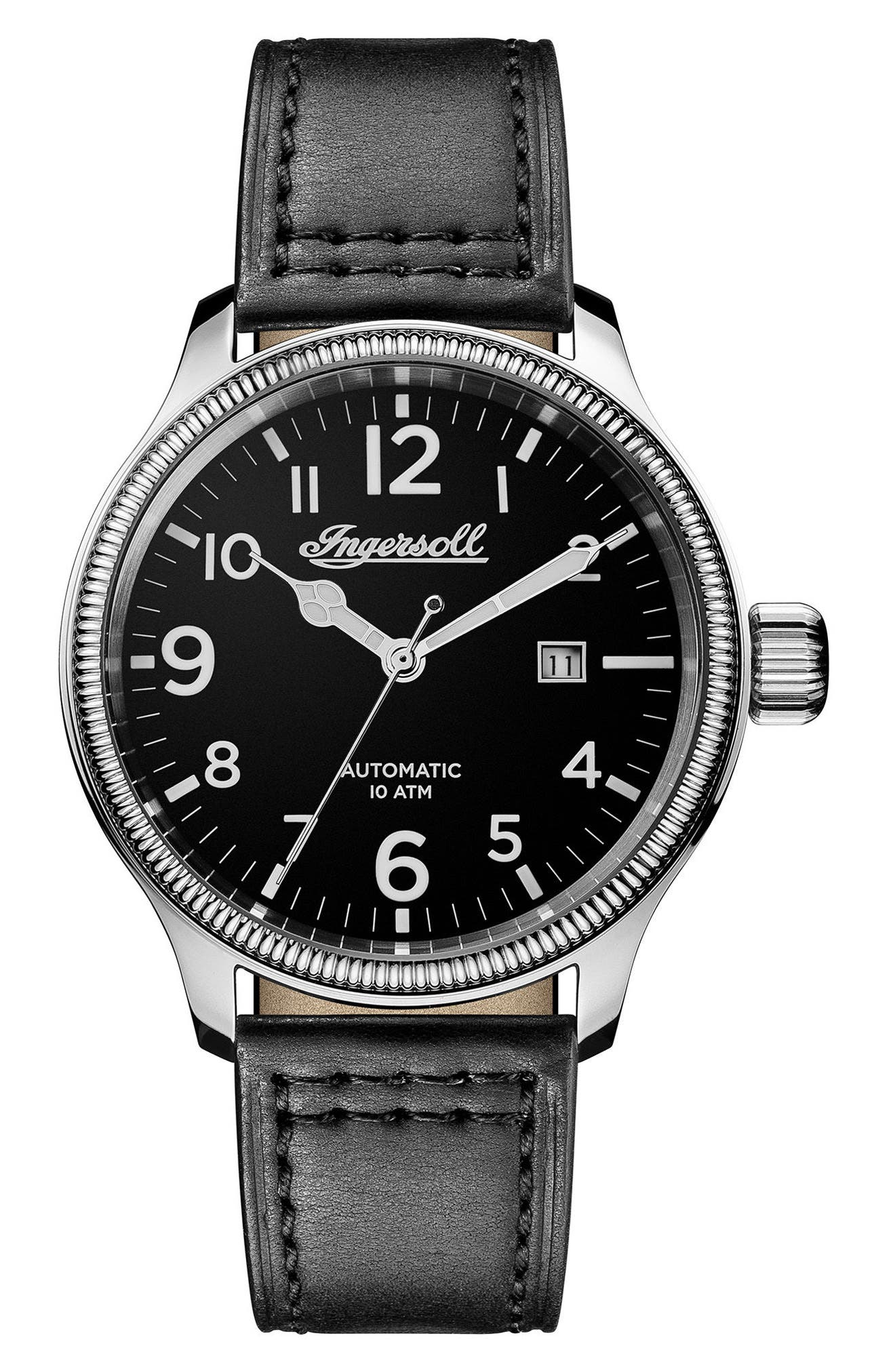 Ingersoll Apsley Automatic Leather Strap Watch, 45mm,                         Main,                         color, Black/ Silver