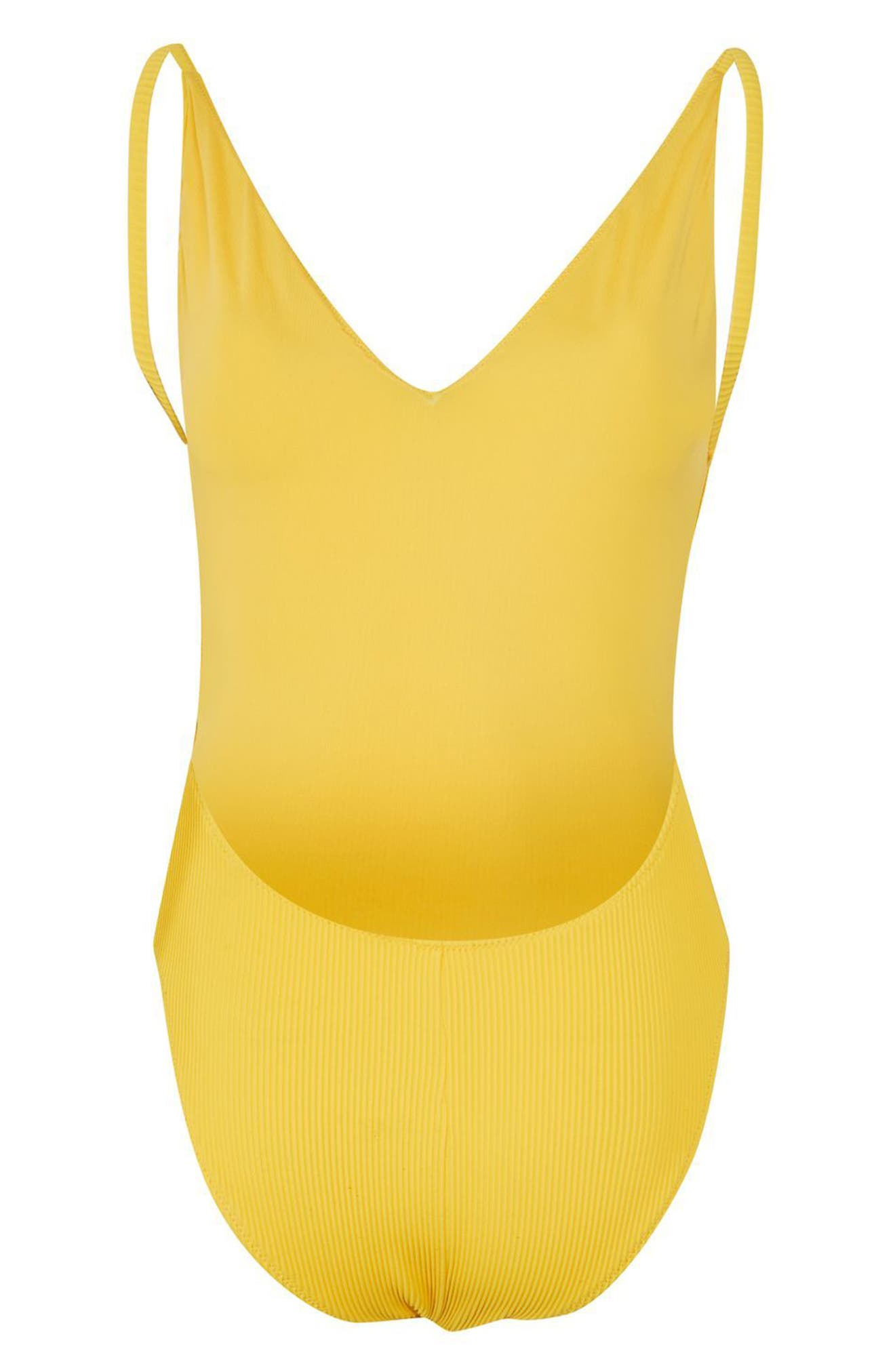 Plunge Wide Rib One-Piece Swimsuit,                             Alternate thumbnail 2, color,                             Yellow