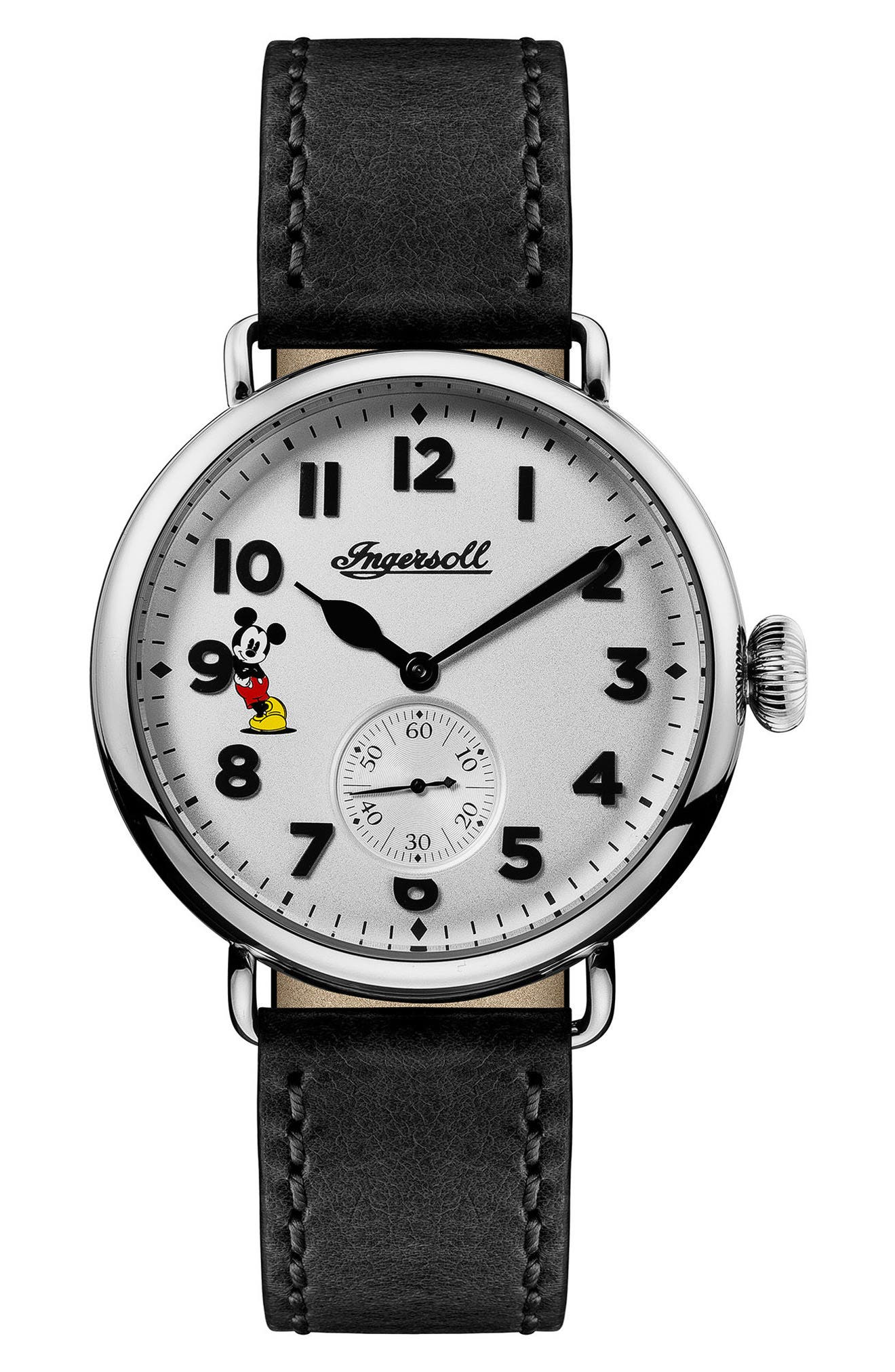 Ingersoll Trenton Disney Leather Strap Watch, 44mm,                             Main thumbnail 1, color,                             Black/ White/ Silver