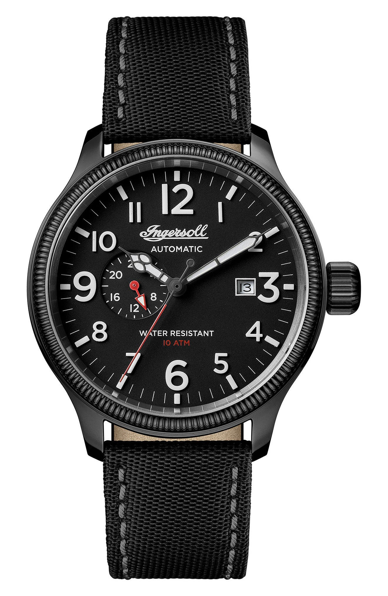 Ingersoll Apsley Automatic Nylon Strap Watch, 45mm,                             Main thumbnail 1, color,                             Black