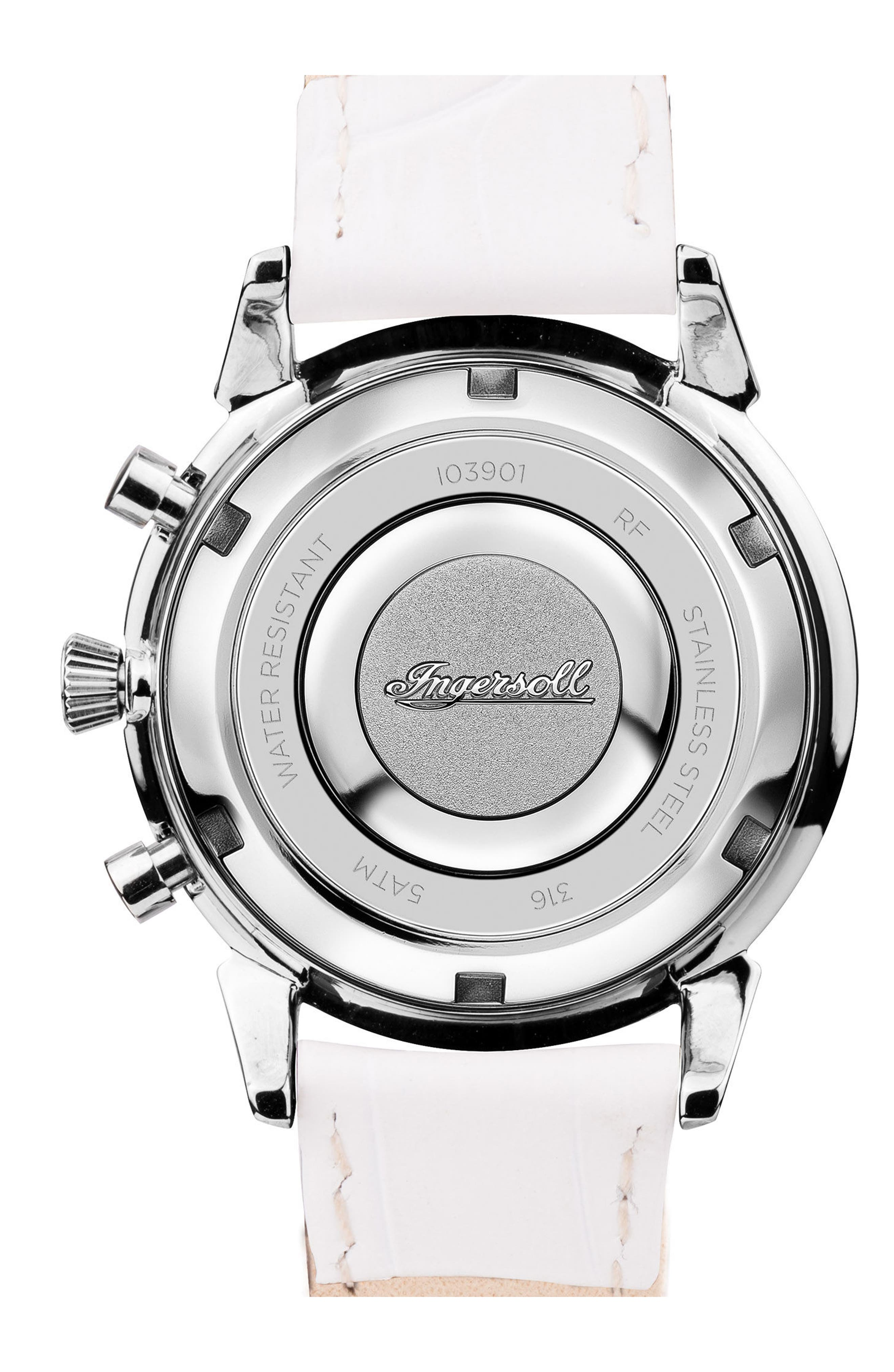 Alternate Image 2  - Ingersoll Crystal Accent Chronograph Leather Strap Watch, 35mm
