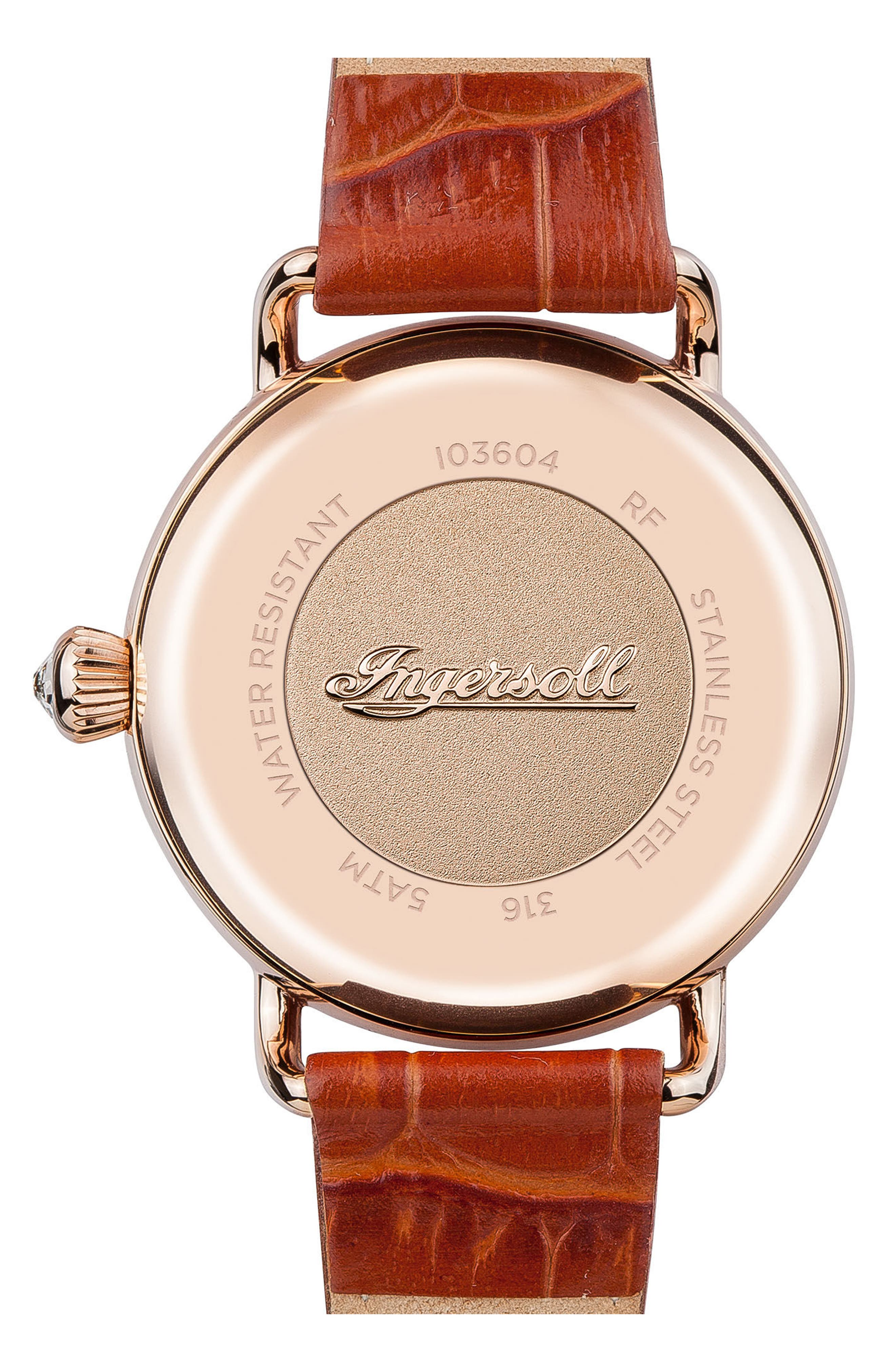 Ingersoll Trenton Leather Strap Watch, 34mm,                             Alternate thumbnail 2, color,                             Brown/ White/ Rose Gold