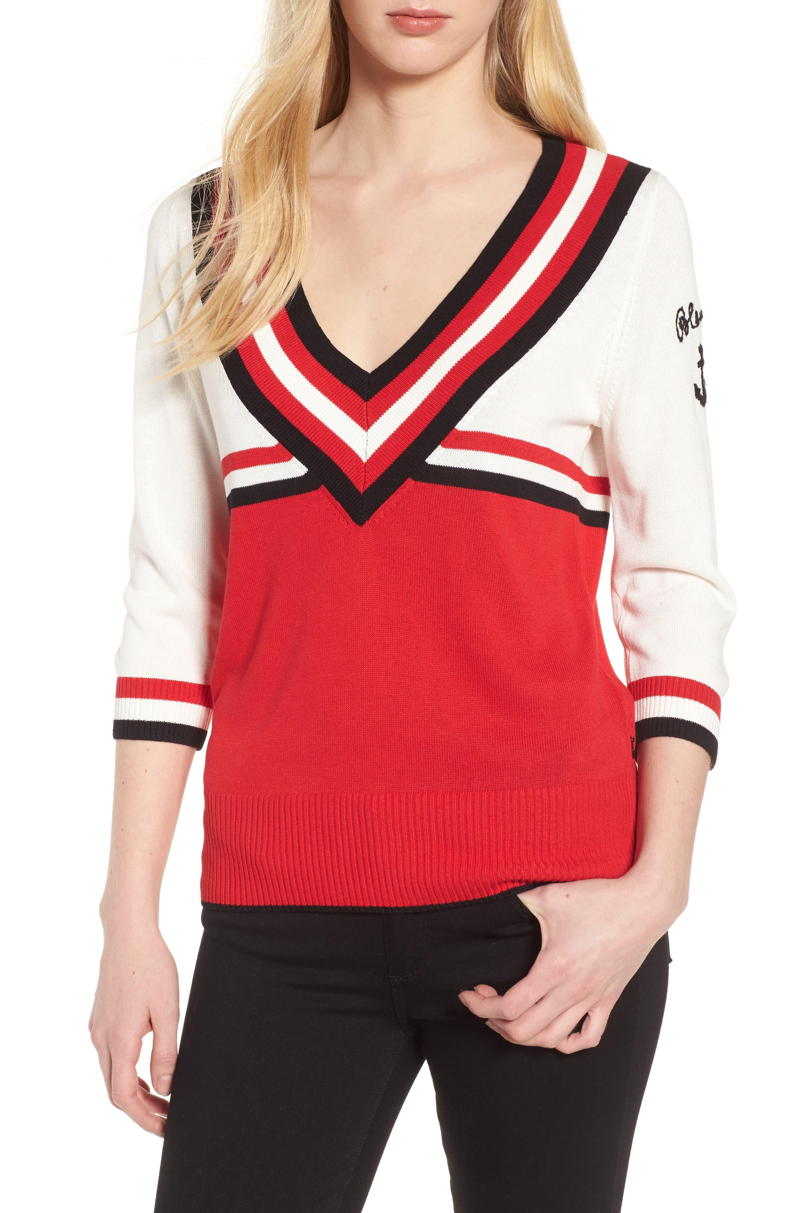 Stripe Sweater,                             Main thumbnail 1, color,                             Red/ Black/ White