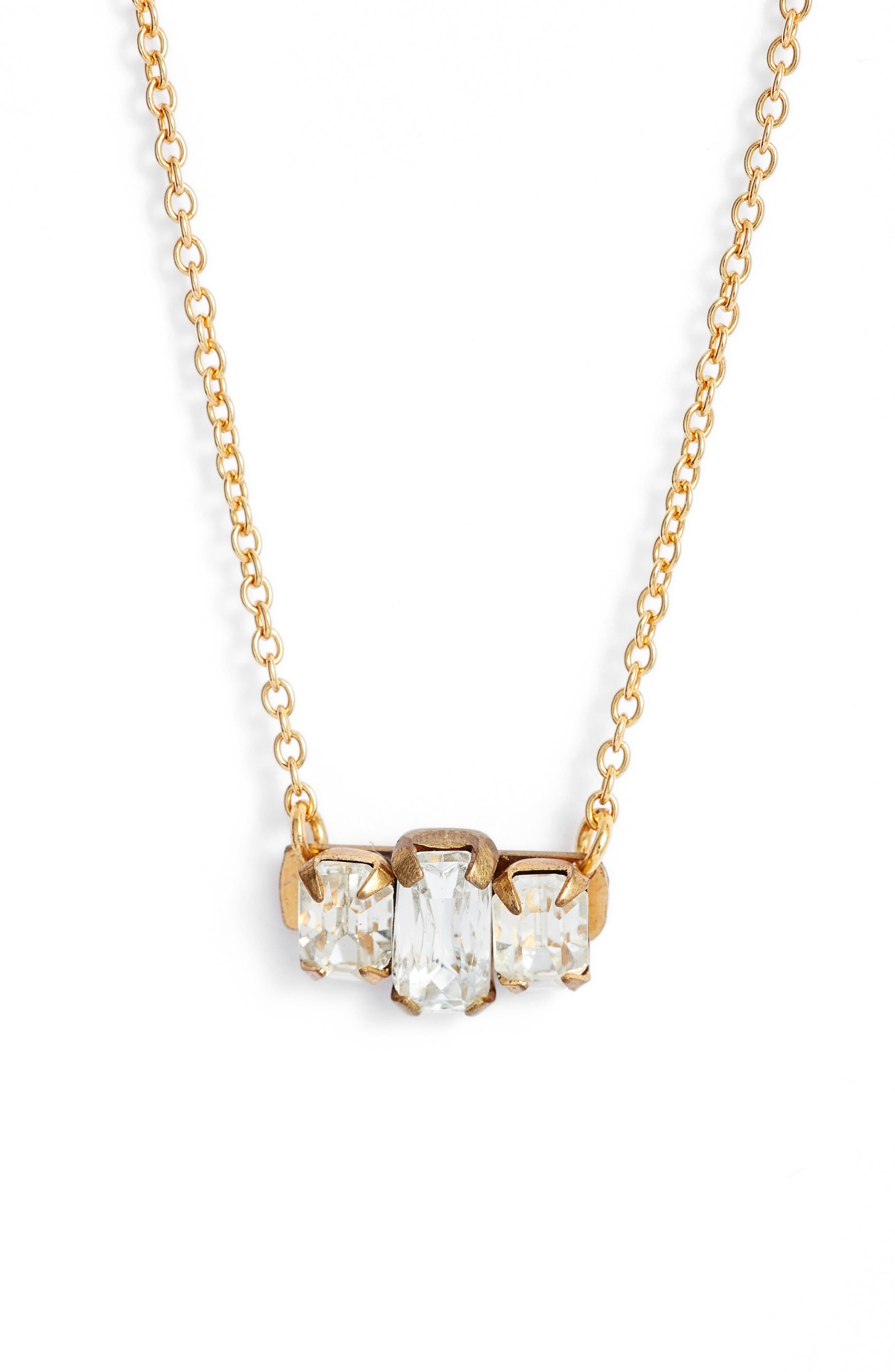 Crystal Bar Pendant Necklace,                         Main,                         color, Gold/ Crystal