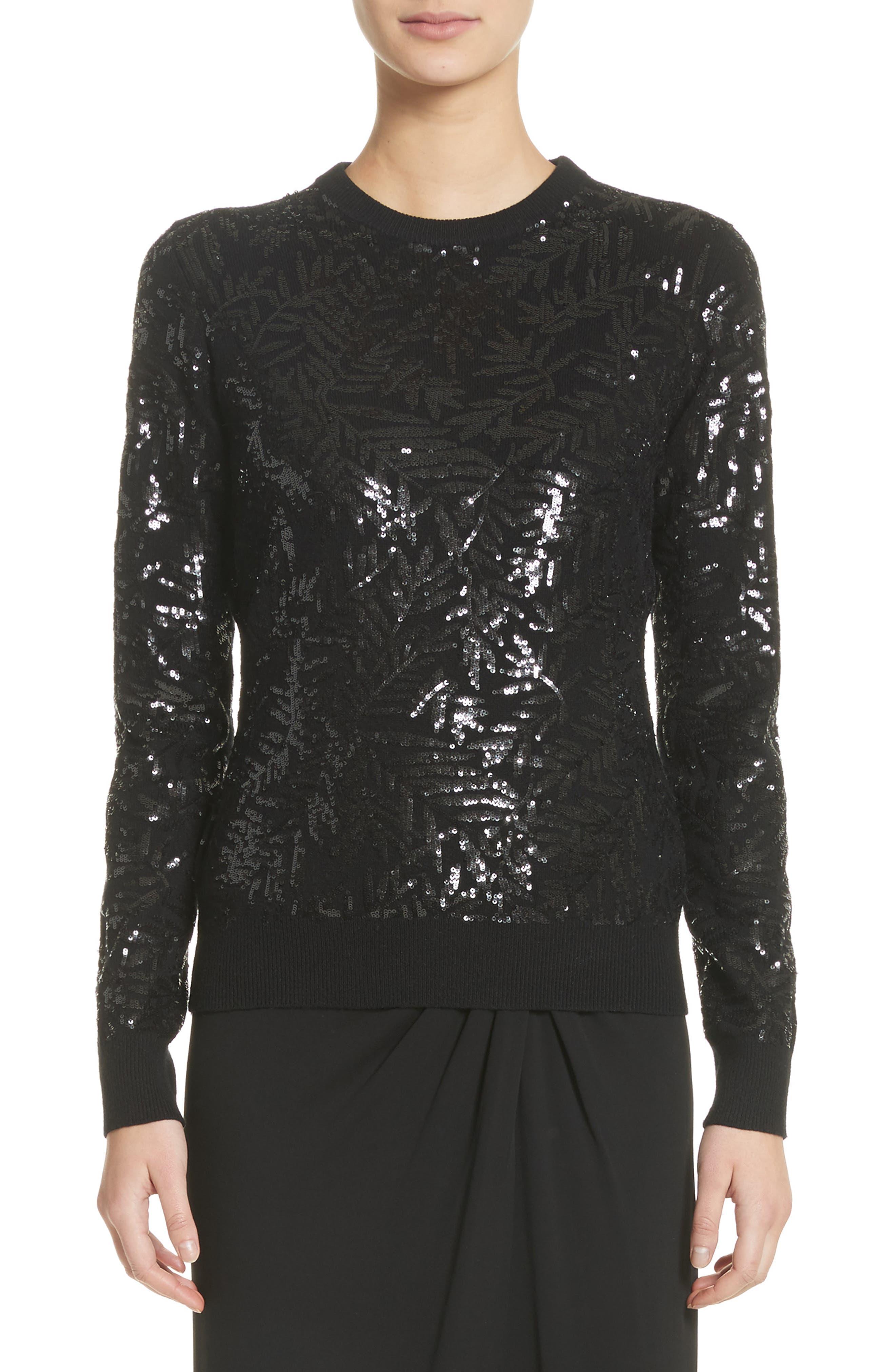 Michael Kors Sequin Palm Cashmere Sweater