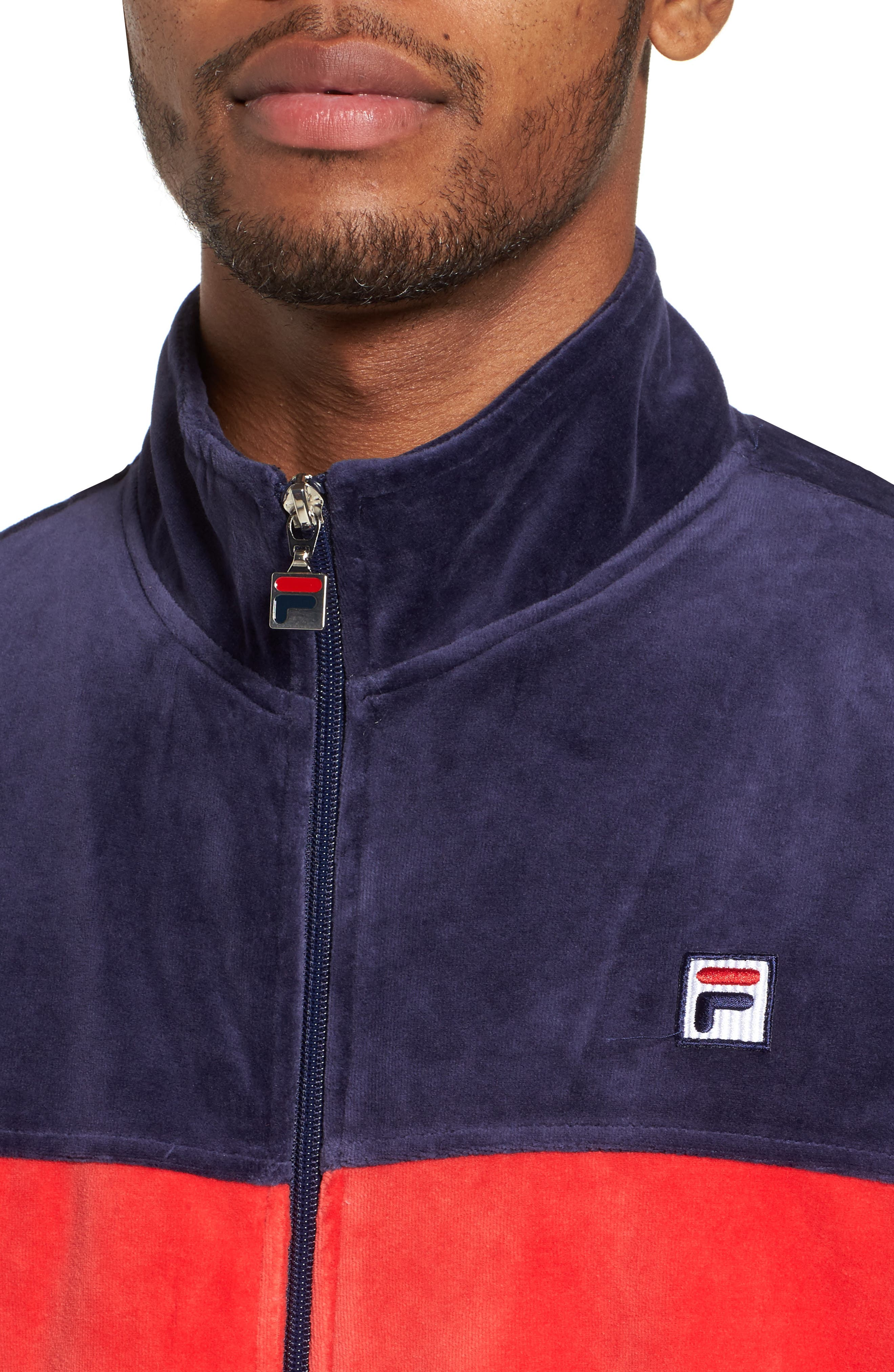 Marcus Velour Track Jacket,                             Alternate thumbnail 4, color,                             Navy/ Chinese Red/ White