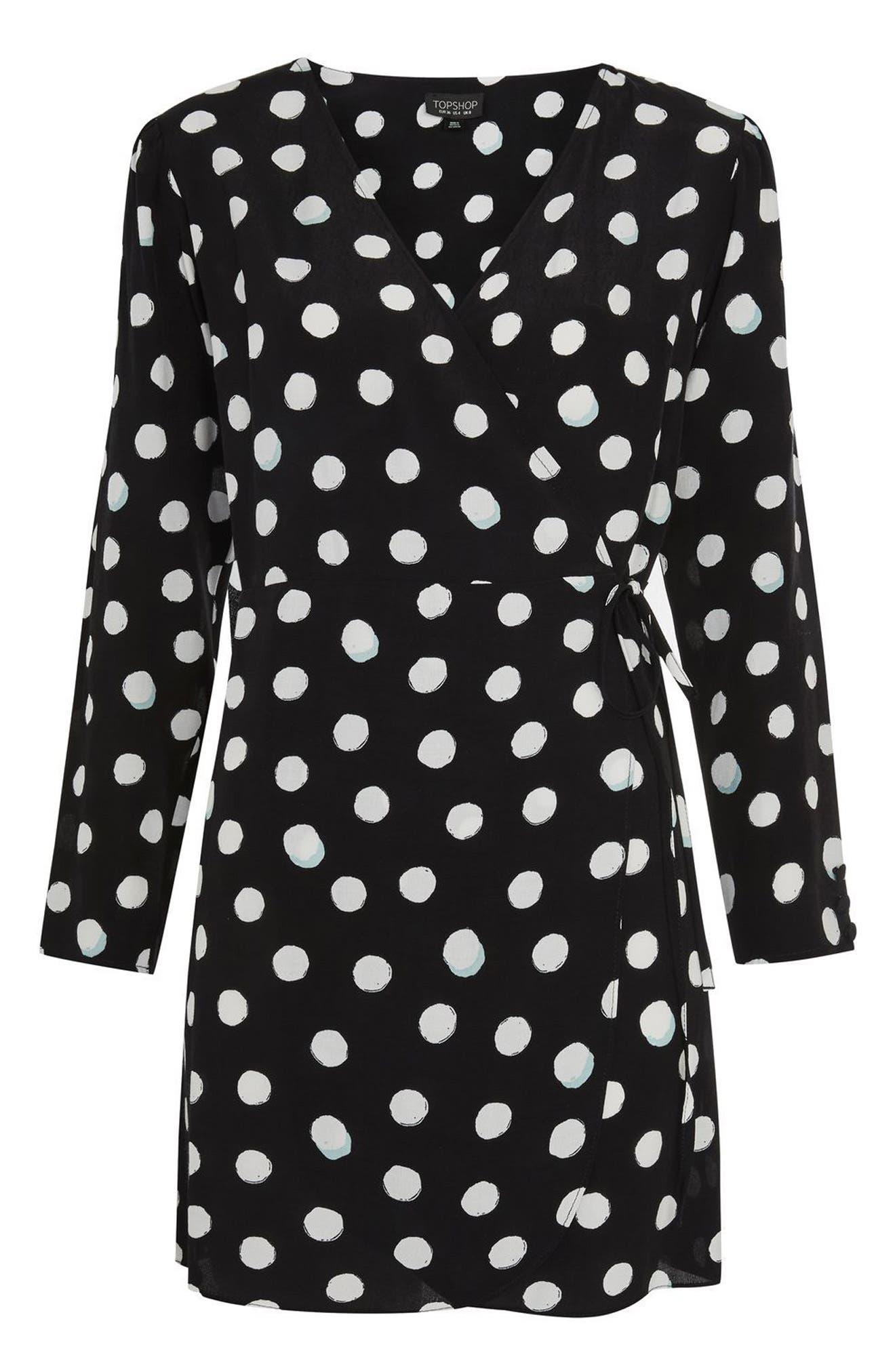 Polka Dot Wrap Dress,                             Alternate thumbnail 3, color,                             Black Multi