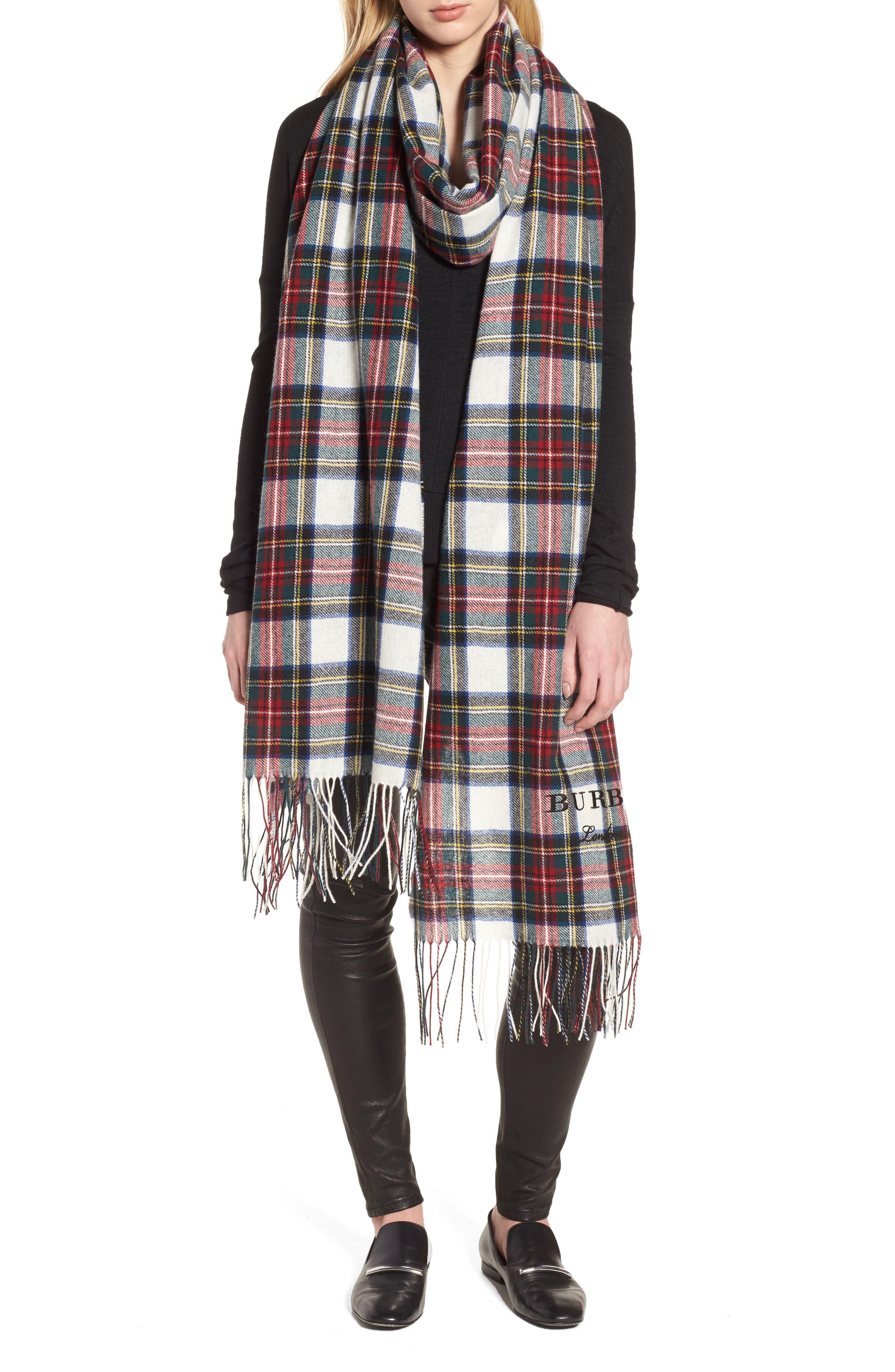 Burberry Oversize Tartan Cashmere & Merino Wool Wrap
