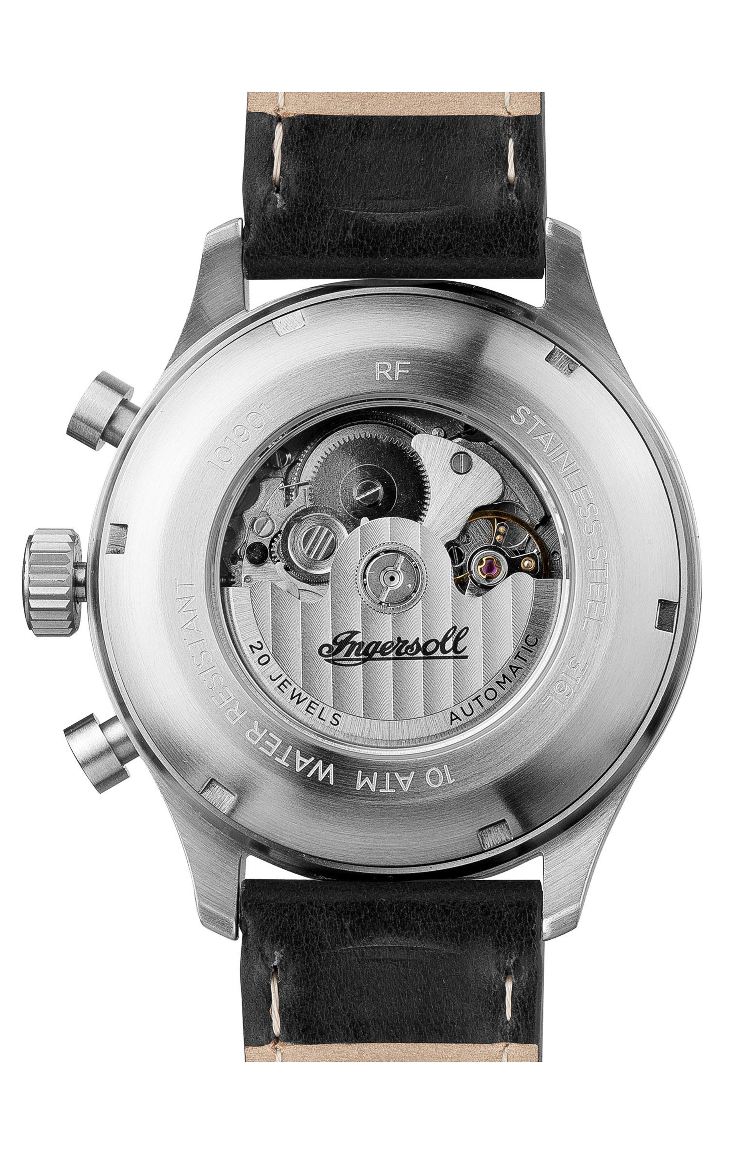 Ingersoll Bateman Automatic Multifunction Leather Strap Watch, 45mm,                             Alternate thumbnail 2, color,                             Black/ Silver