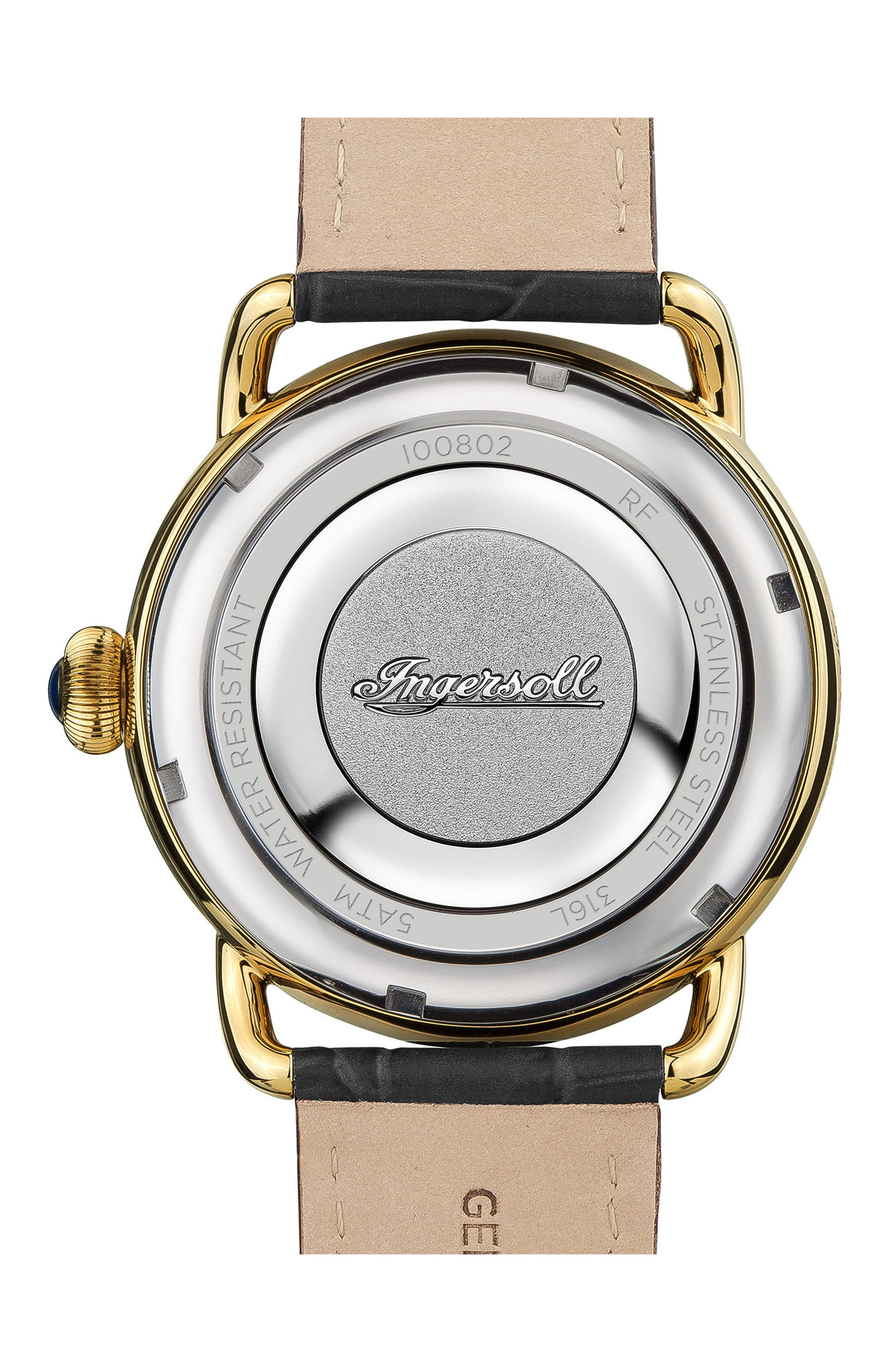 Ingersoll New England Leather Strap Watch, 42mm,                             Alternate thumbnail 2, color,                             Black/ Gold