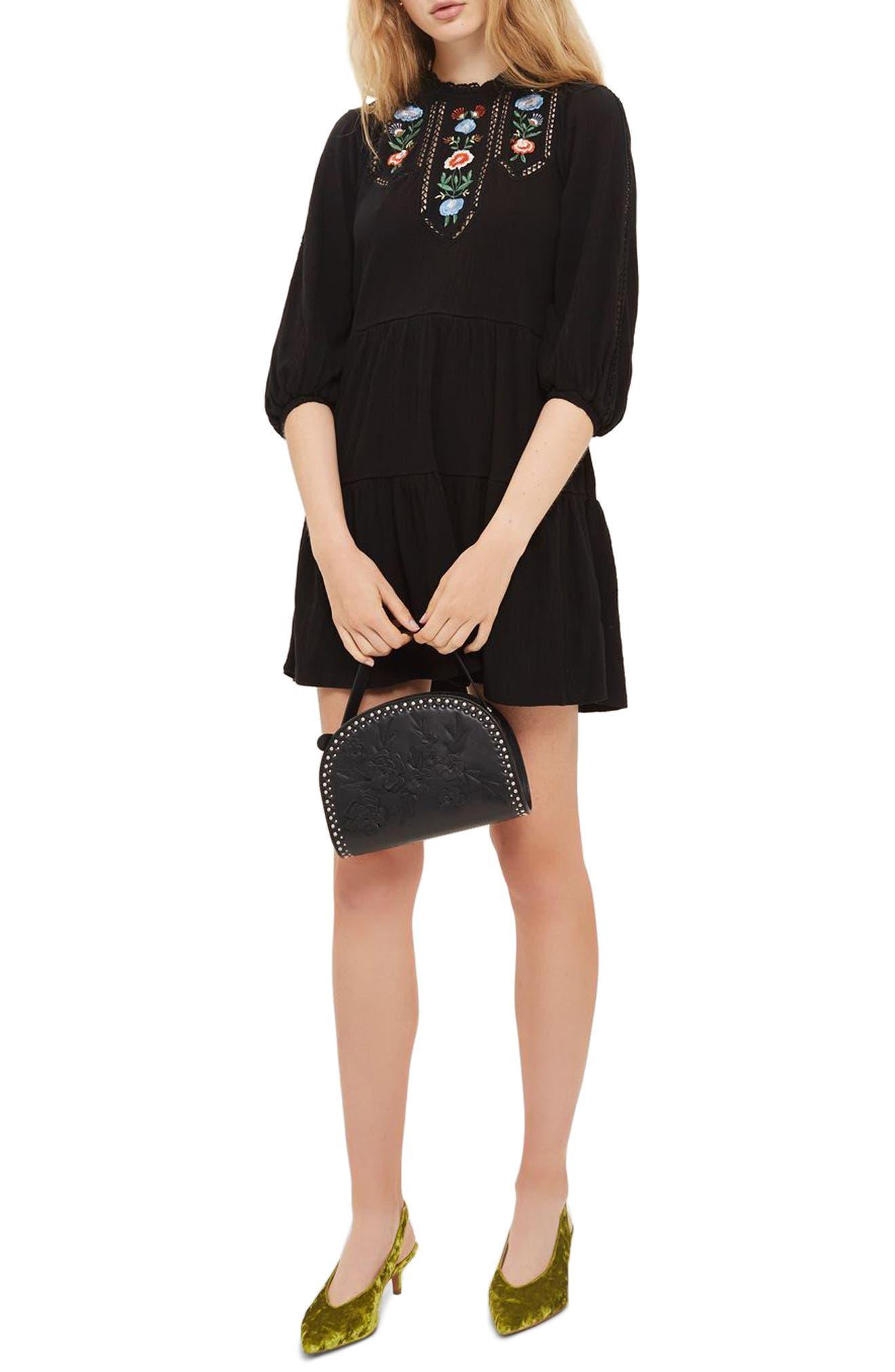 Embroidered Smock Dress,                         Main,                         color, Black Multi
