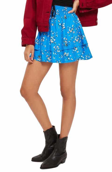 Topshop Tiered Floral Miniskirt