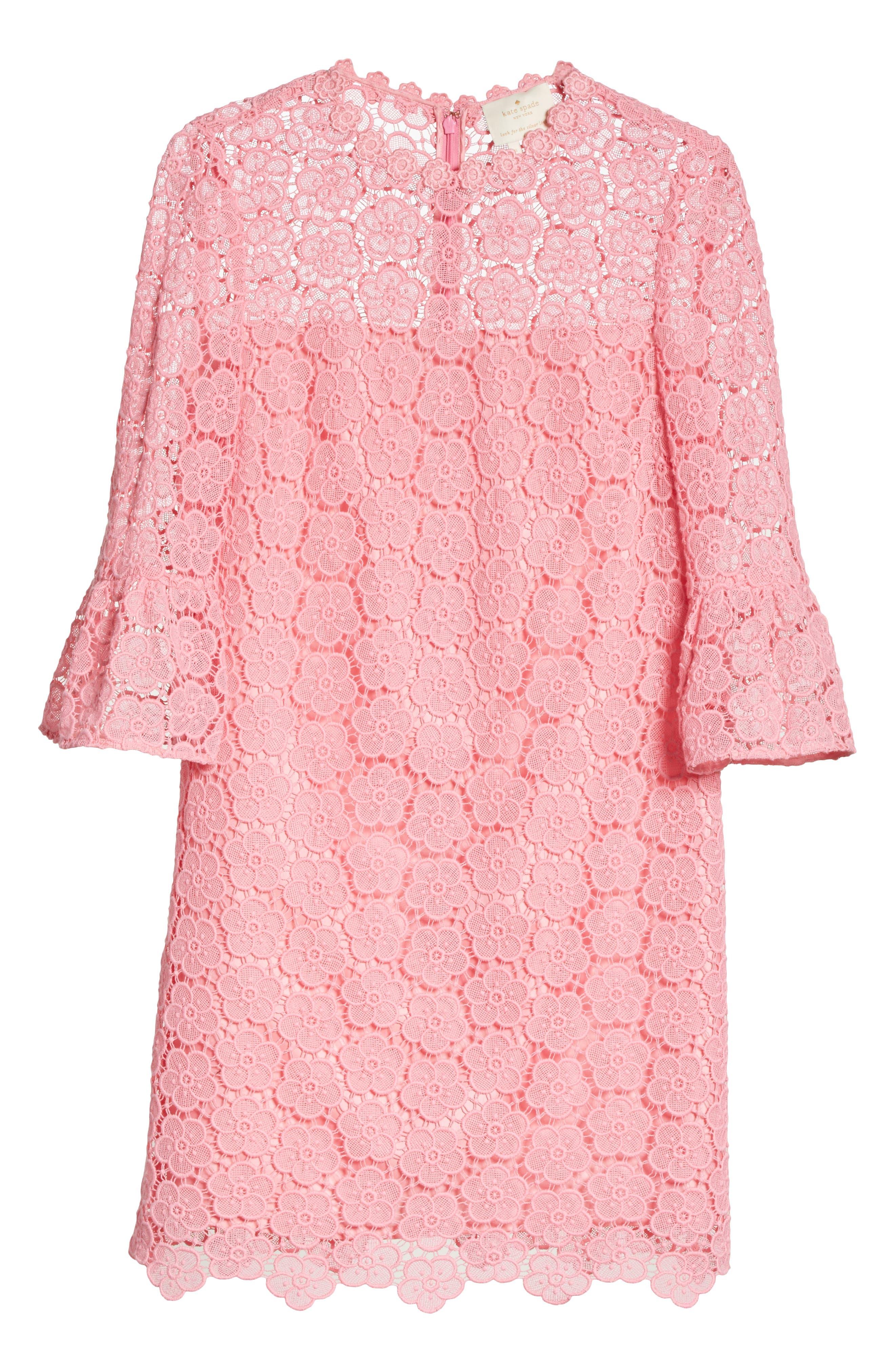 bloom flower lace shift dress,                             Alternate thumbnail 6, color,                             Parisian Pink