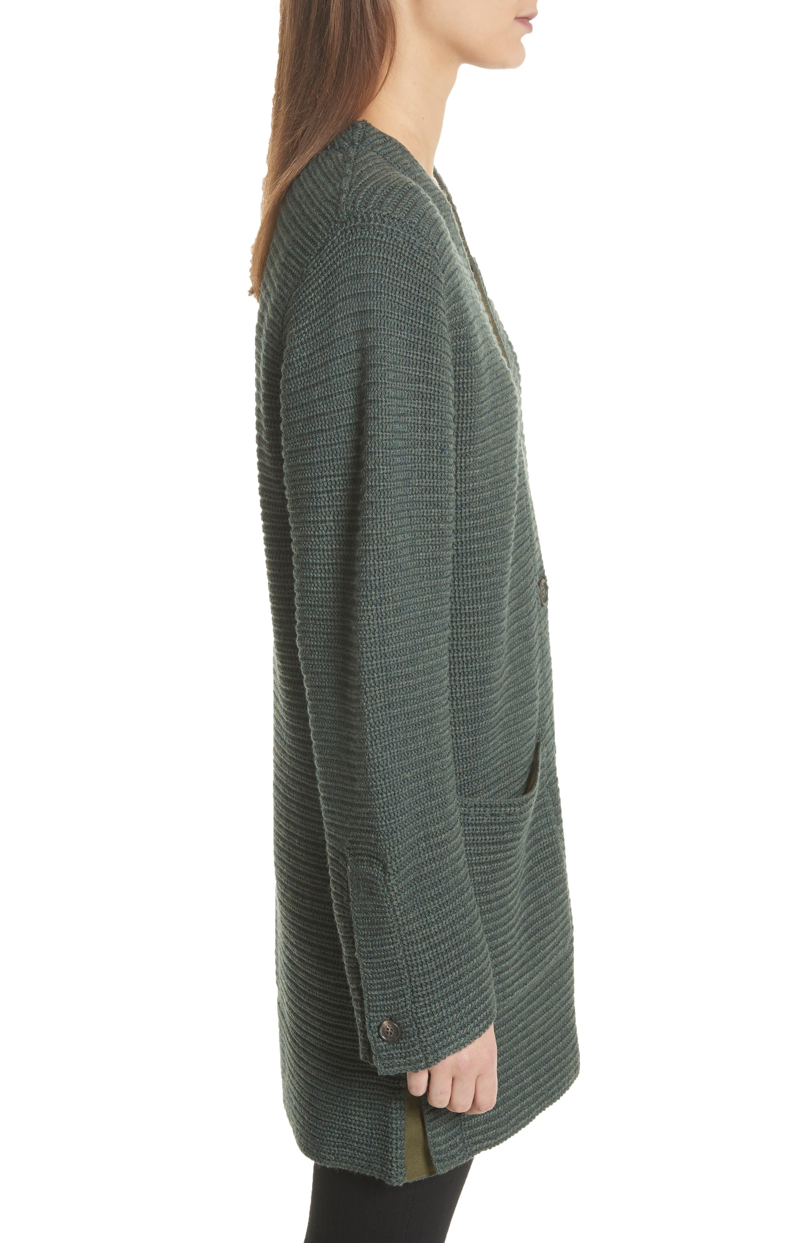 Fleta Merino Wool Blend Cardigan,                             Alternate thumbnail 4, color,                             Olive