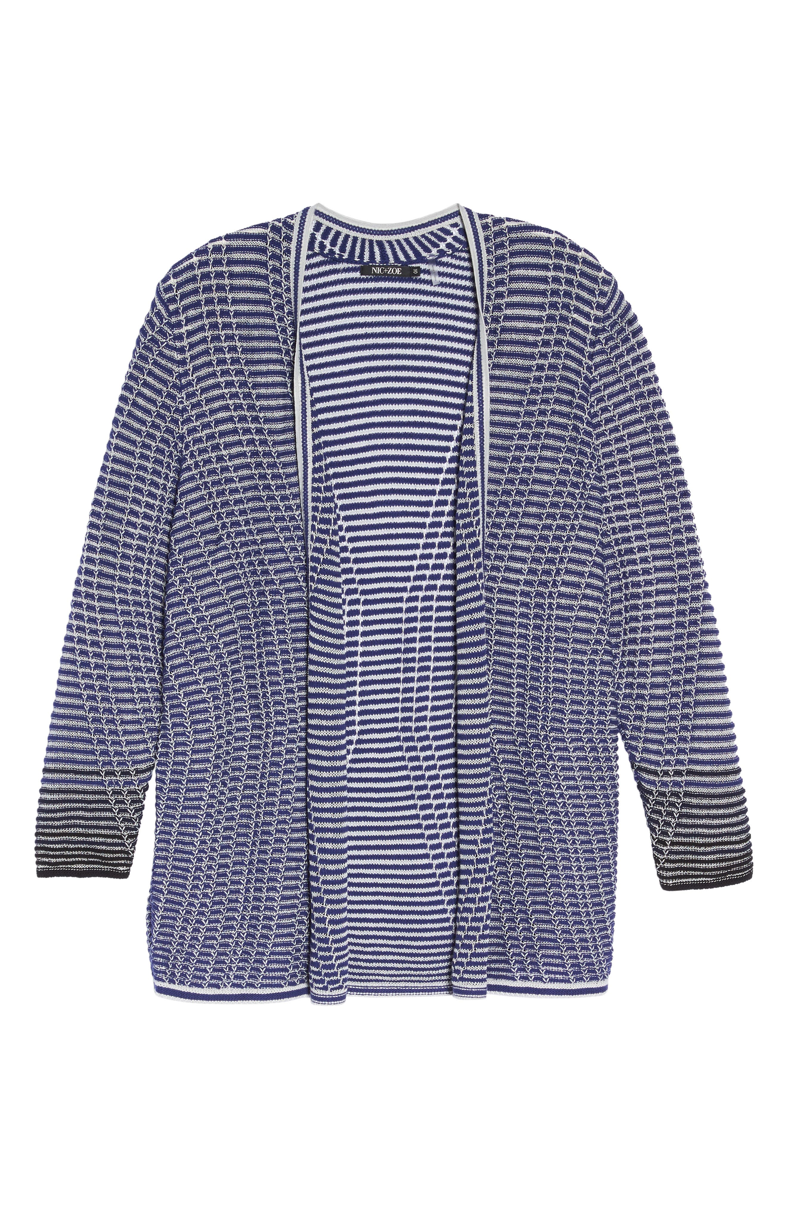 Striped Space Cardigan,                             Alternate thumbnail 6, color,                             Electric Blue