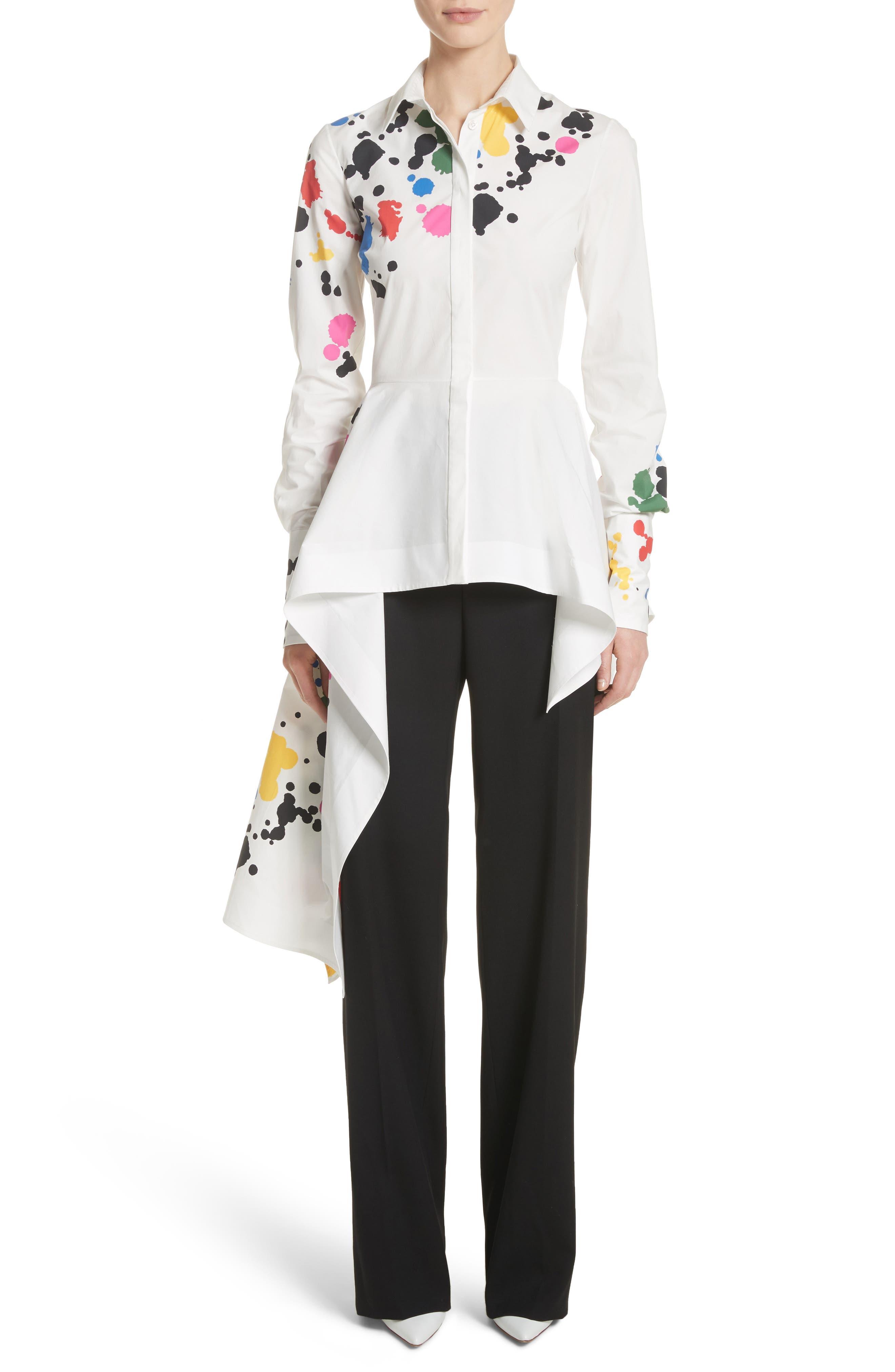 Paint Splatter Asymmetrical Poplin Shirt,                         Main,                         color, White Multi