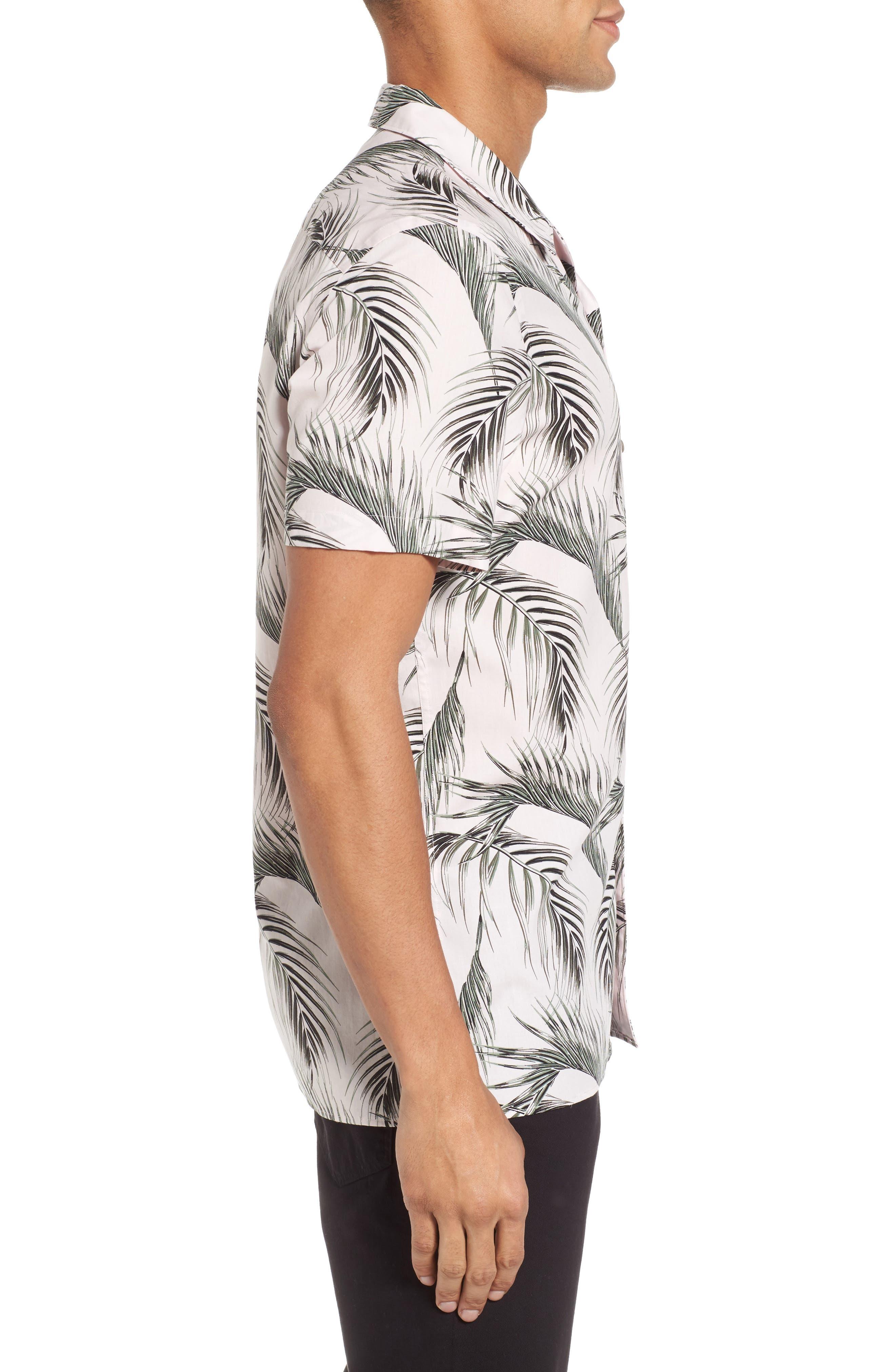 Slim Fit Short Sleeve Print Camp Shirt,                             Alternate thumbnail 3, color,                             Pink Pretty Palms