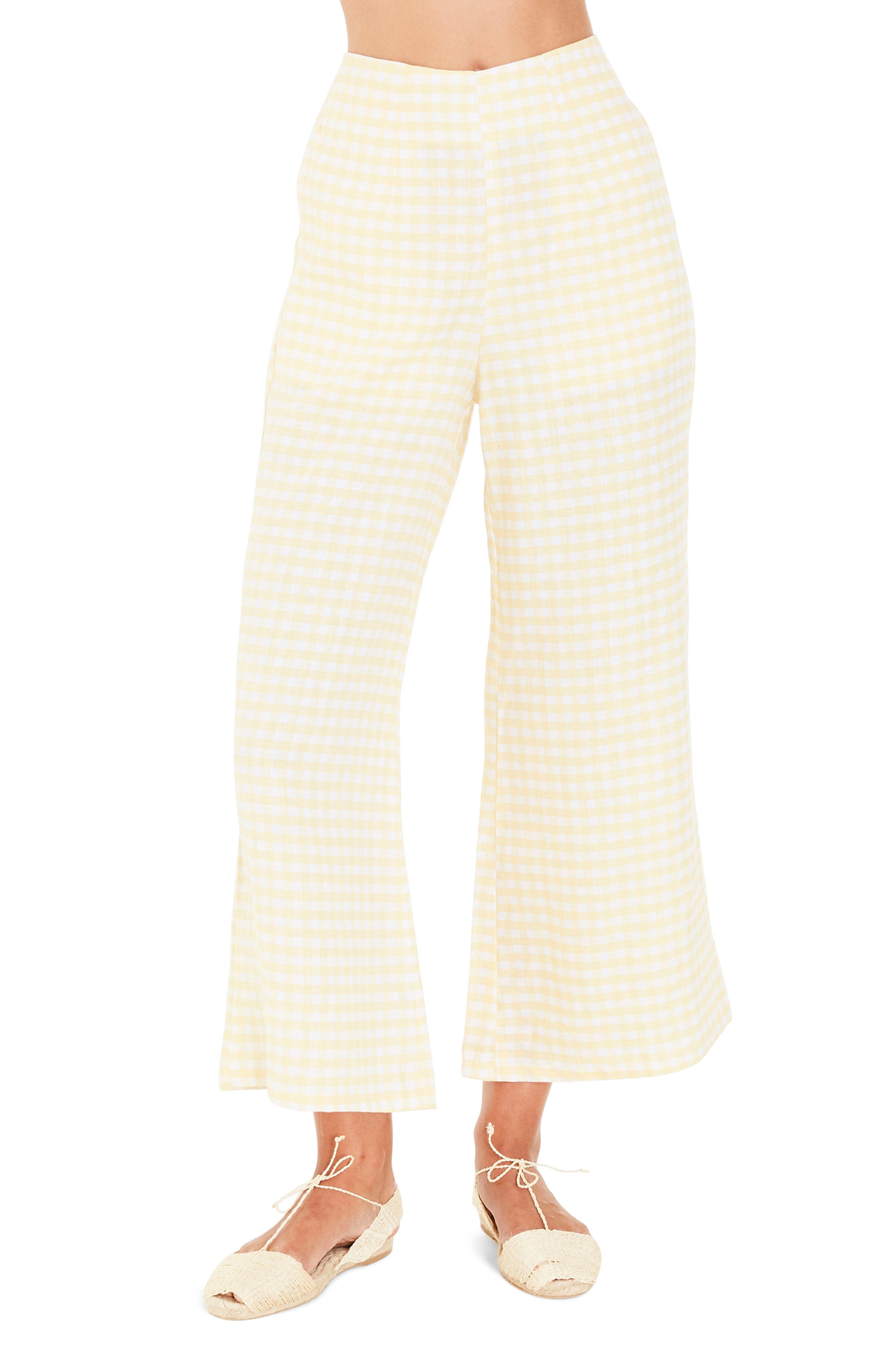 Tomas Gingham Linen Pants,                         Main,                         color, Kivotos Print