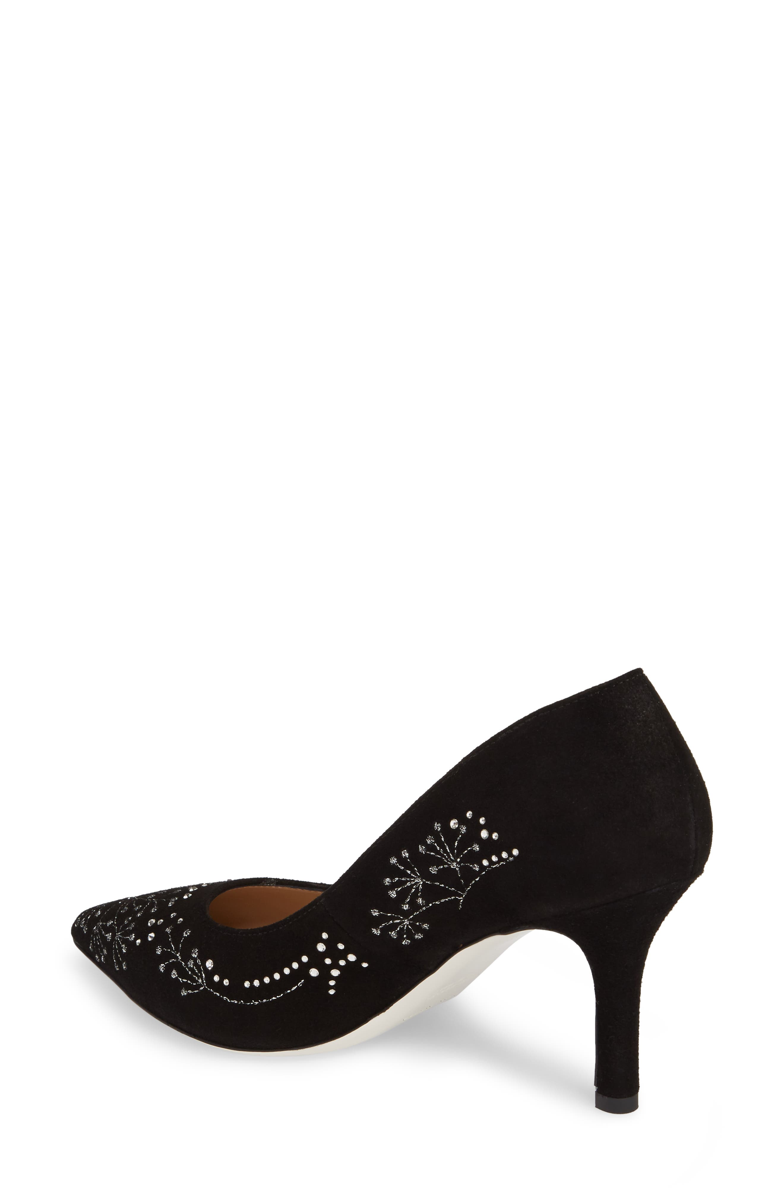 Carla Crystal Embellished Pump,                             Alternate thumbnail 2, color,                             Onyx Suede