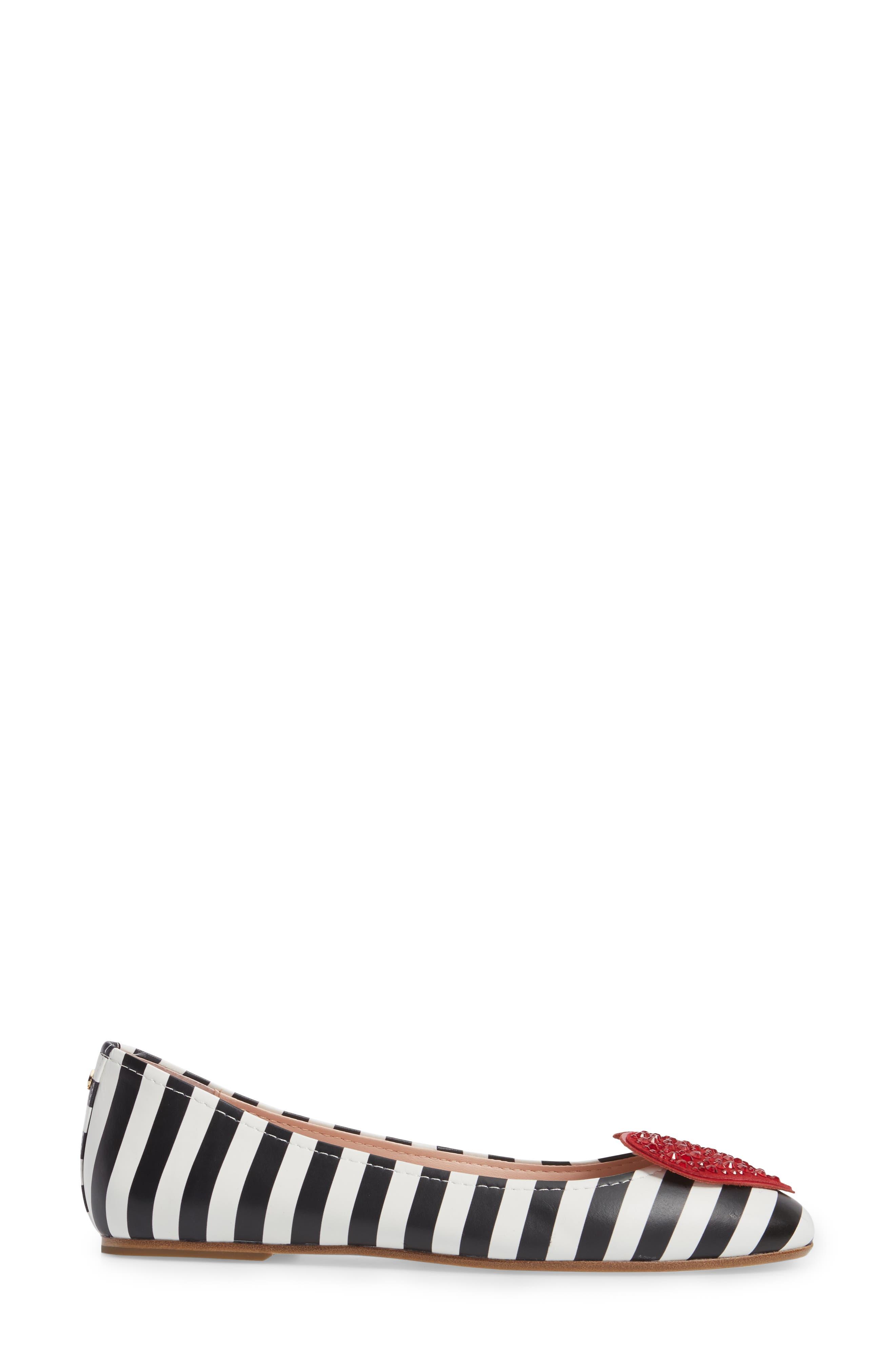 kade crystal embellished heart ballet flat,                             Alternate thumbnail 3, color,                             Black/ White Striped Nappa