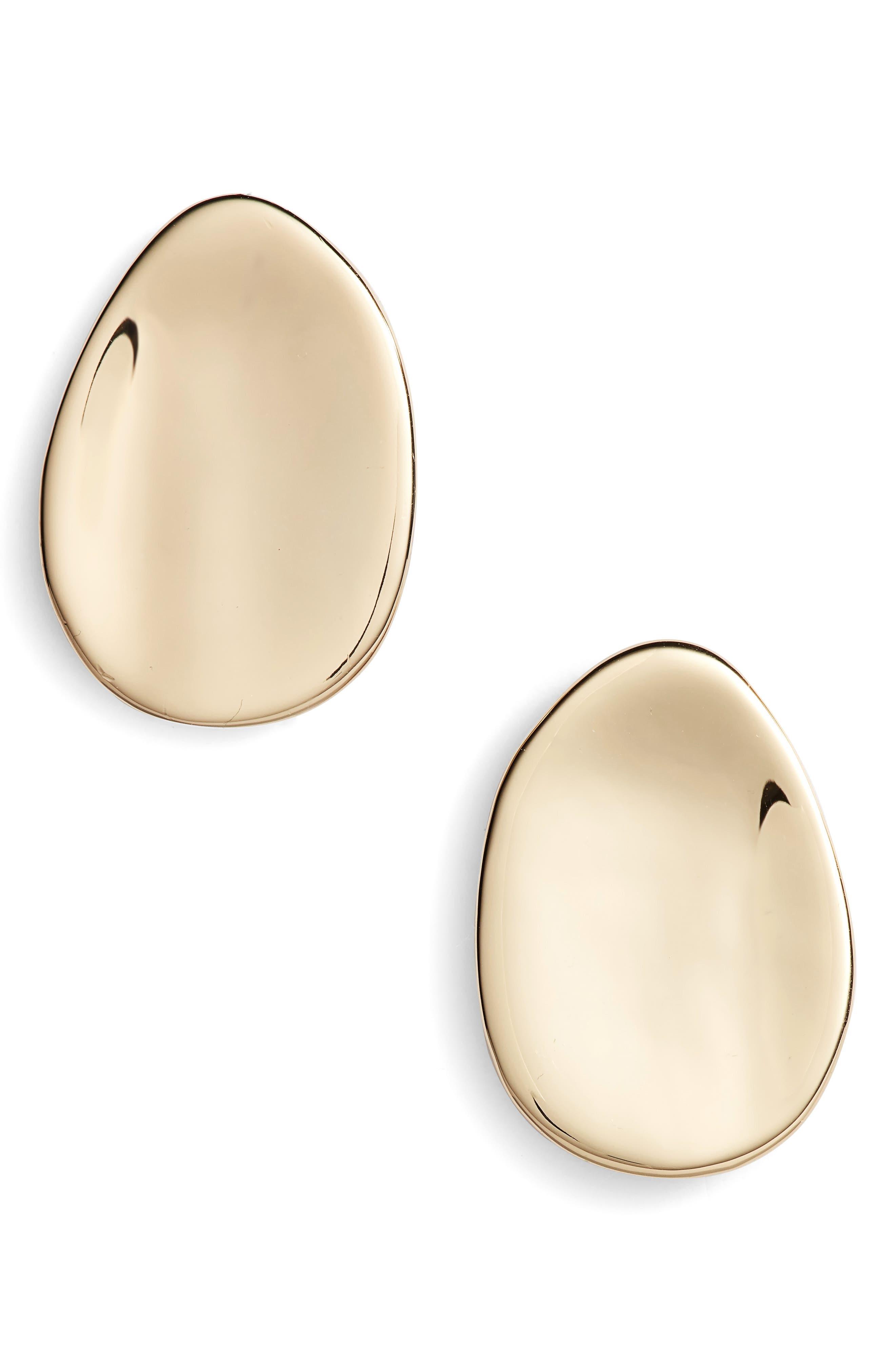 Dish Stud Earrings,                         Main,                         color, Gold