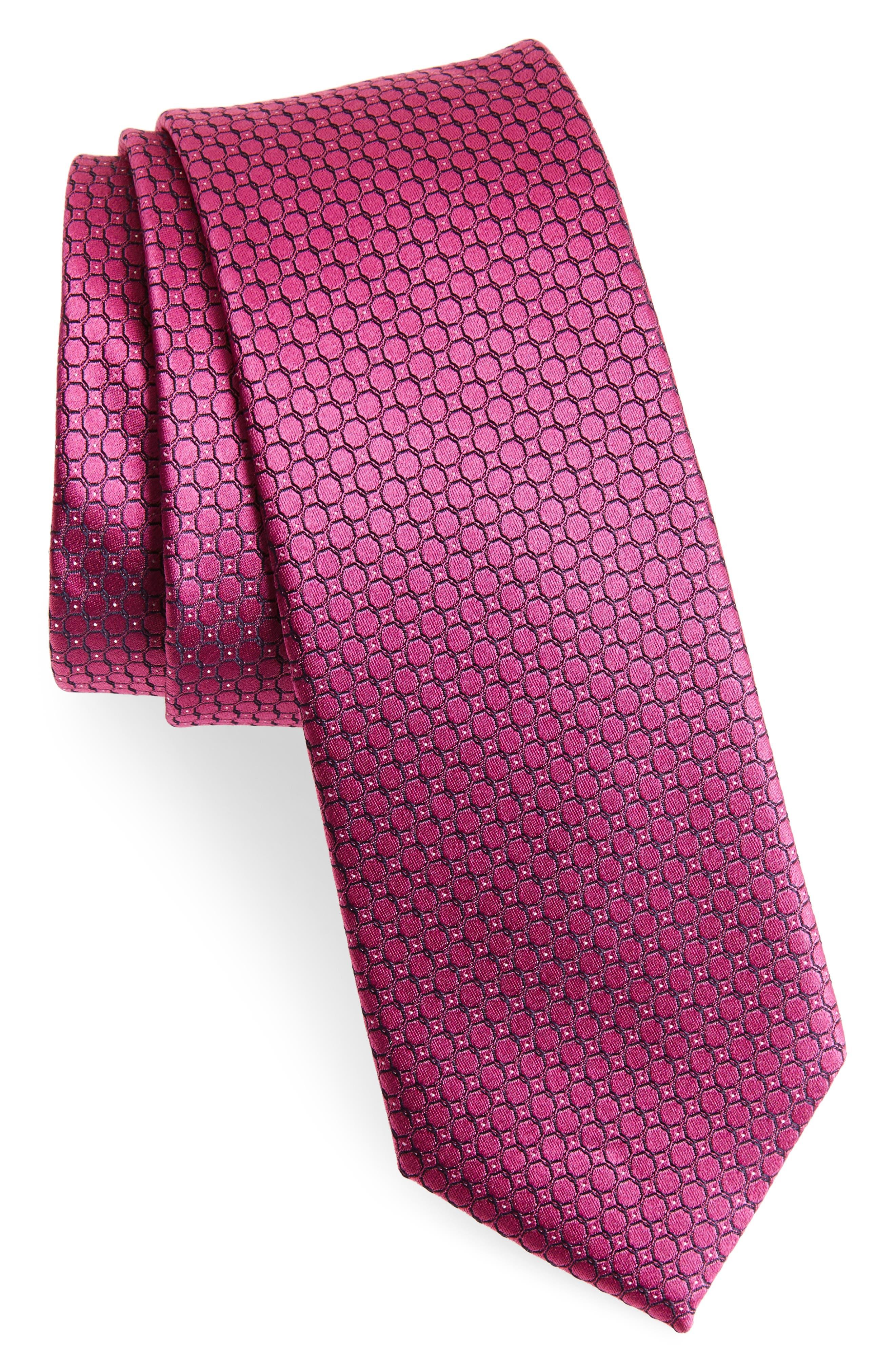 Geometric Silk Skinny Tie,                             Main thumbnail 1, color,                             Pink