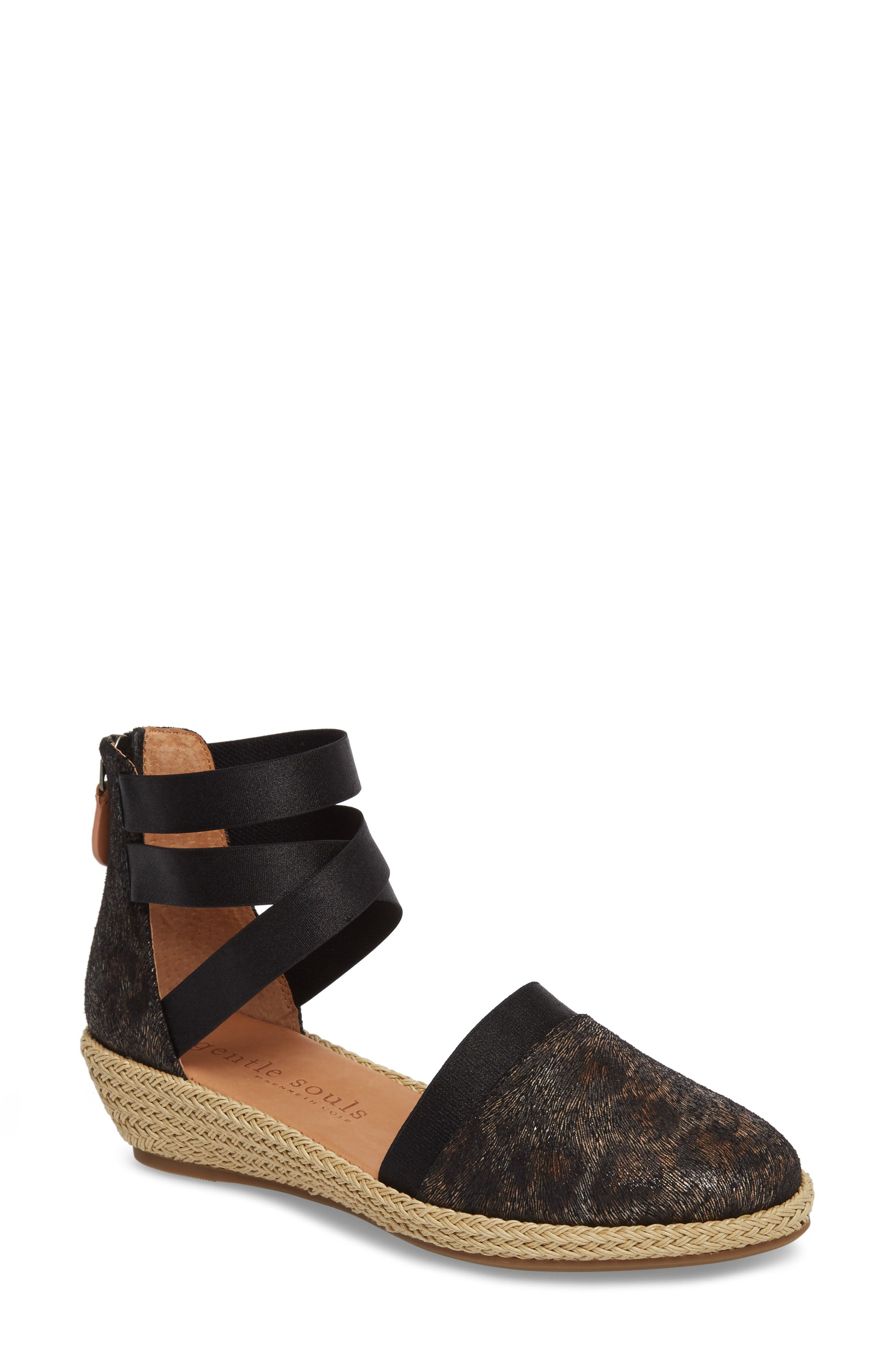 by Kenneth Cole Beth Espadrille Sandal,                             Main thumbnail 1, color,                             Black Leopard Printed Leather