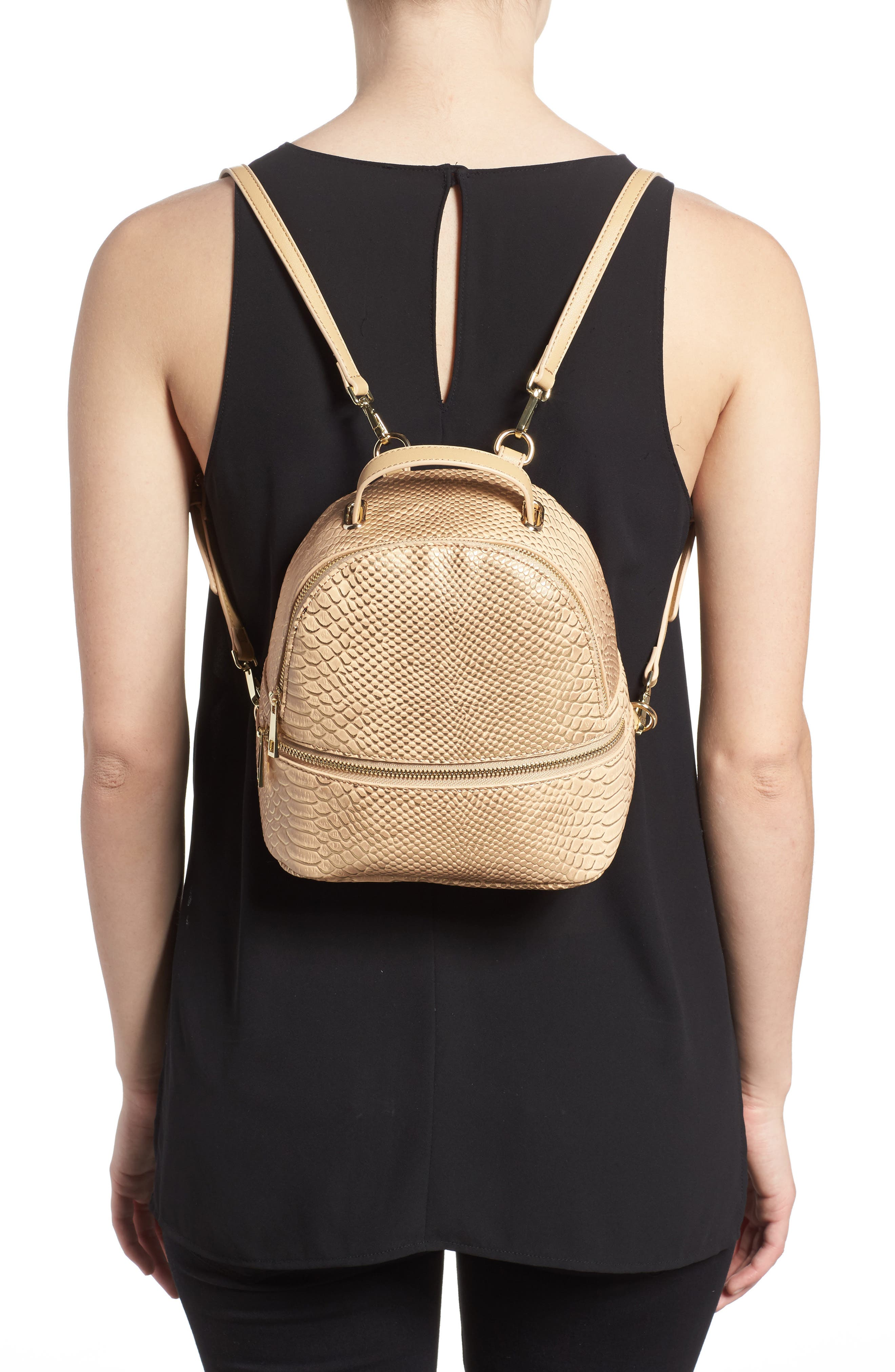 Colette Faux Leather Backpack,                             Alternate thumbnail 2, color,                             Nude Snake