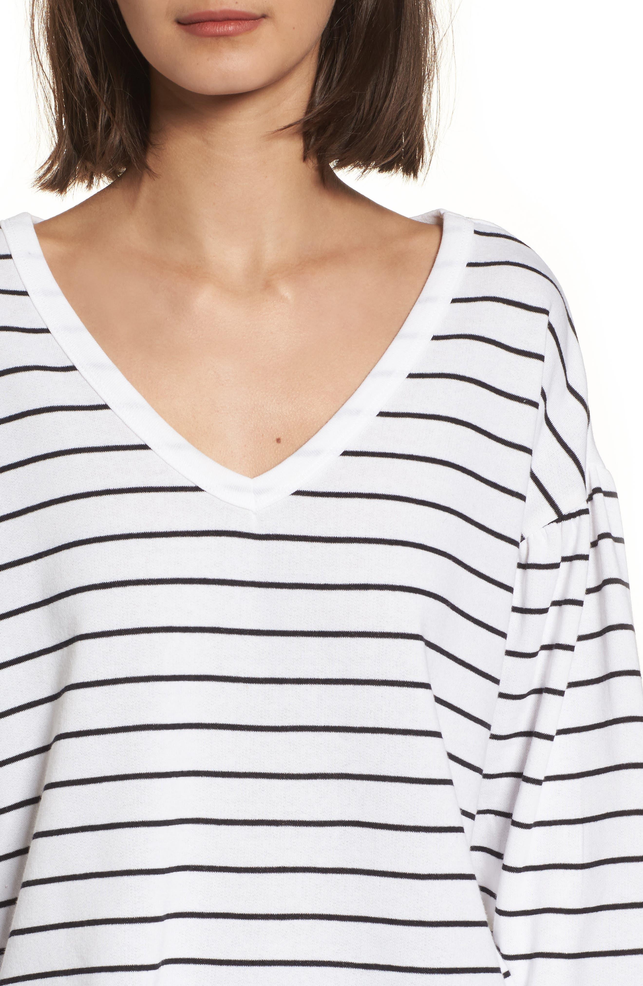 Drop Shoulder Stripe Sweater,                             Alternate thumbnail 4, color,                             White Liz Stripe