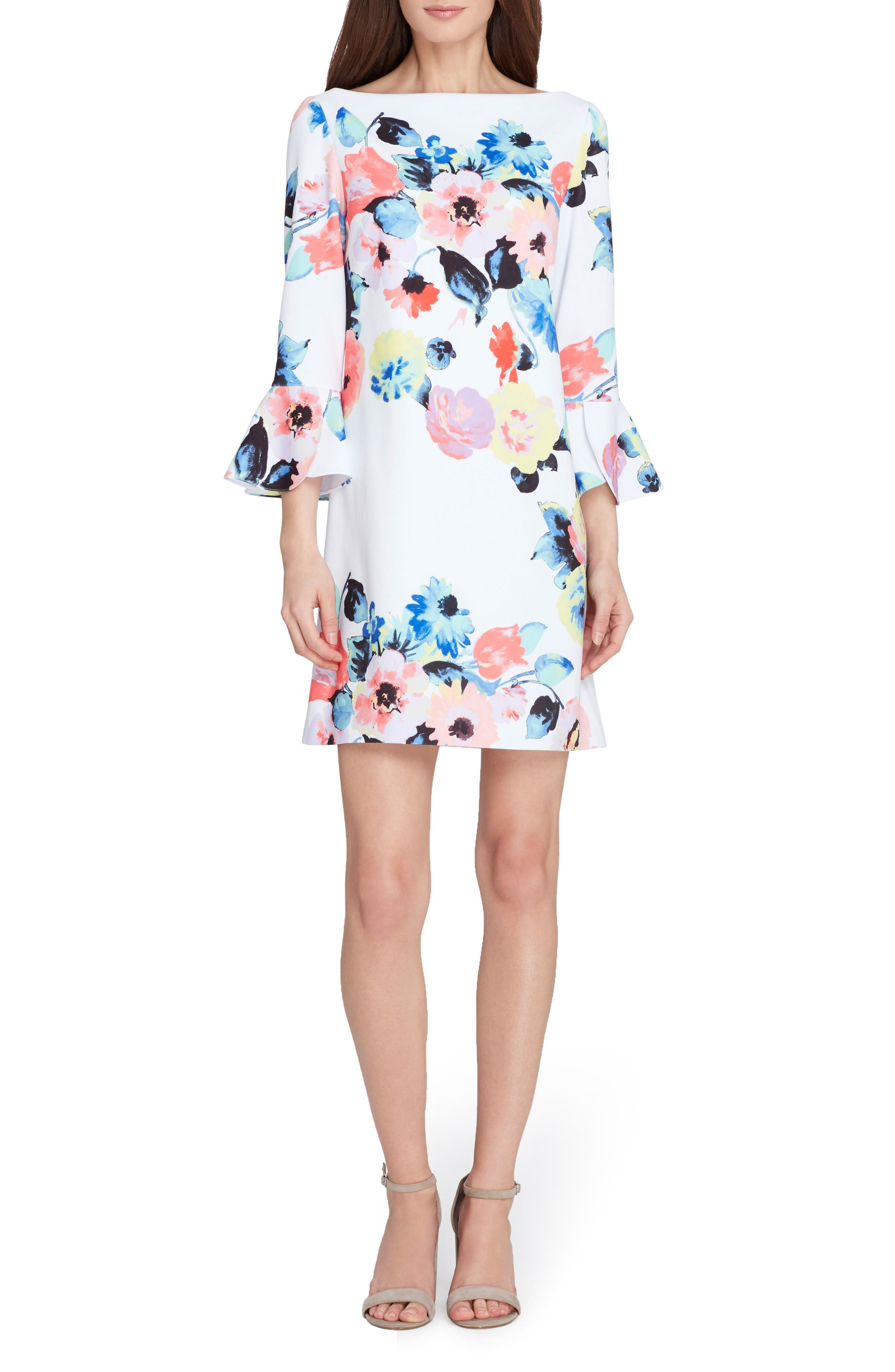 Floral Bell Sleeve Shift Dress,                         Main,                         color, Ivory/ Coral/ Lilac