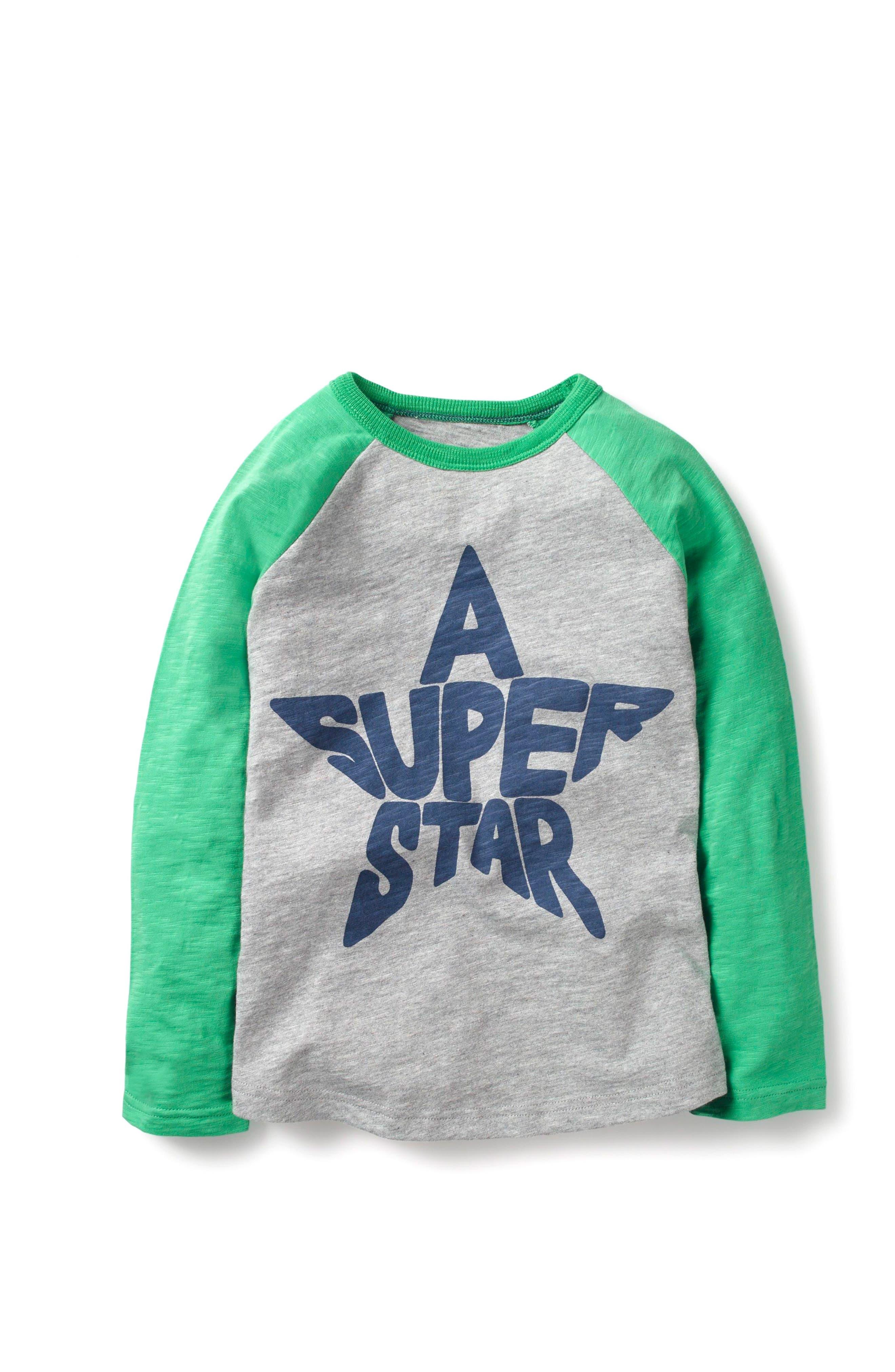 Space Worldle Long Sleeve Raglan T-Shirt,                             Main thumbnail 1, color,                             Grey Marl/ Astro Green Star