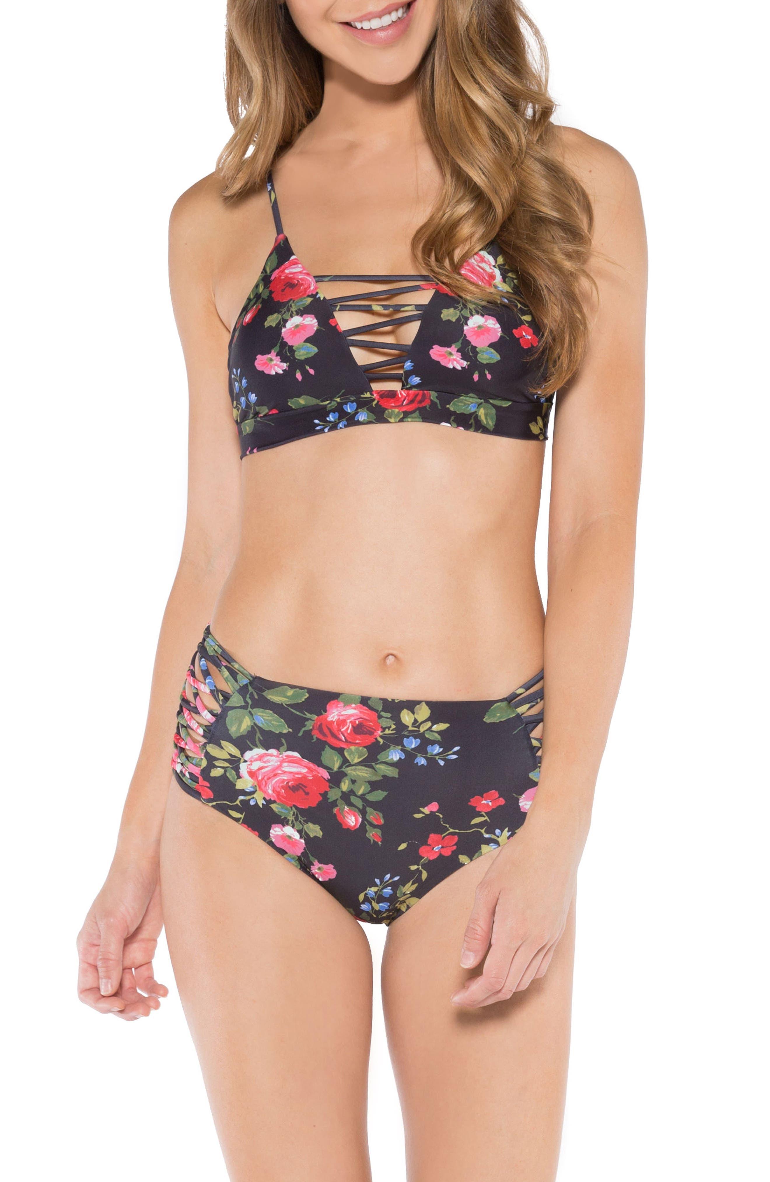 Solana Strappy High Waist Bikini Bottoms,                             Alternate thumbnail 4, color,                             Vintage Floral