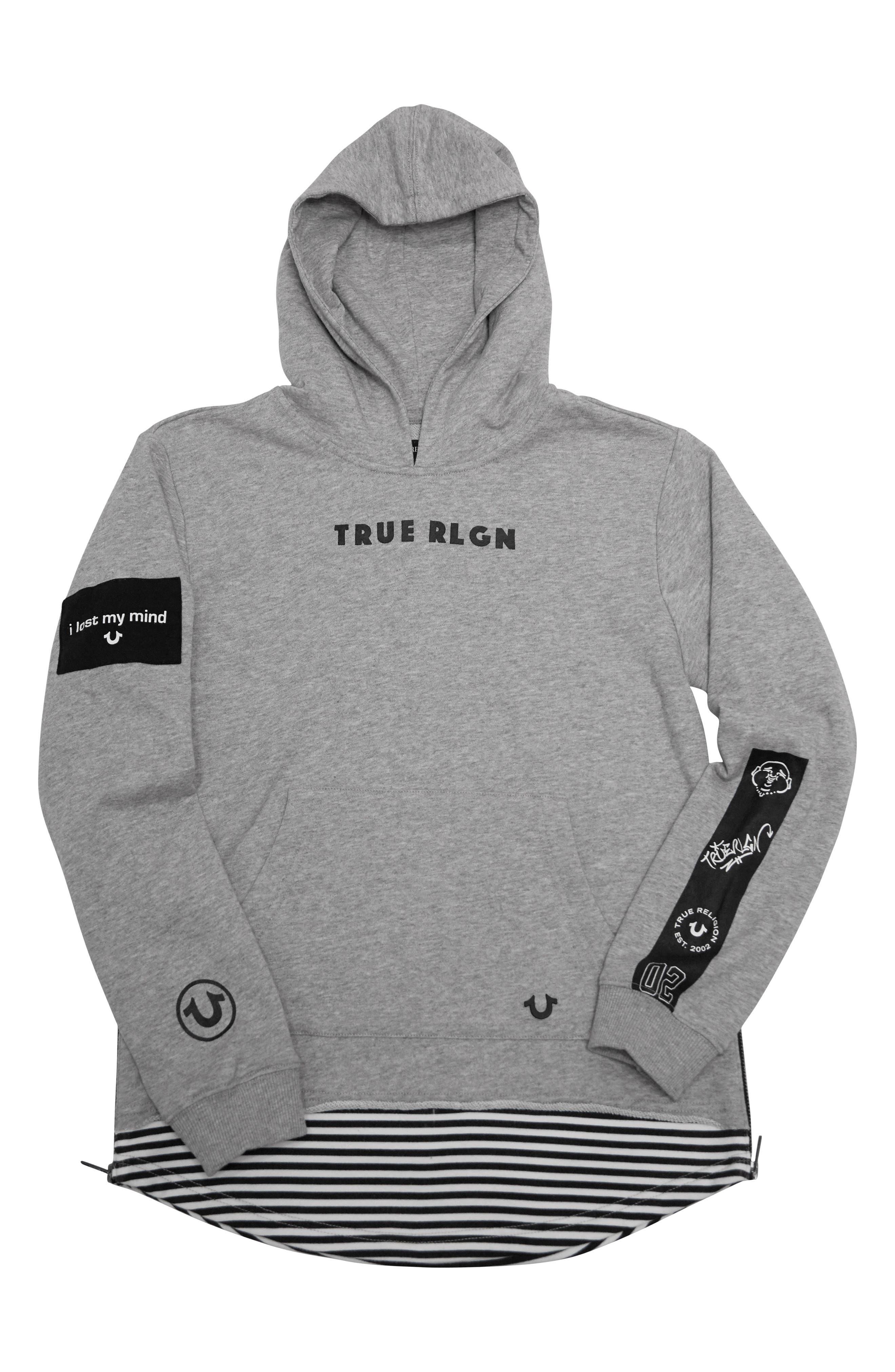 True Religion Brand Jeans Dropped Hem Pullover Hoodie (Toddler Boys & Little Boys)