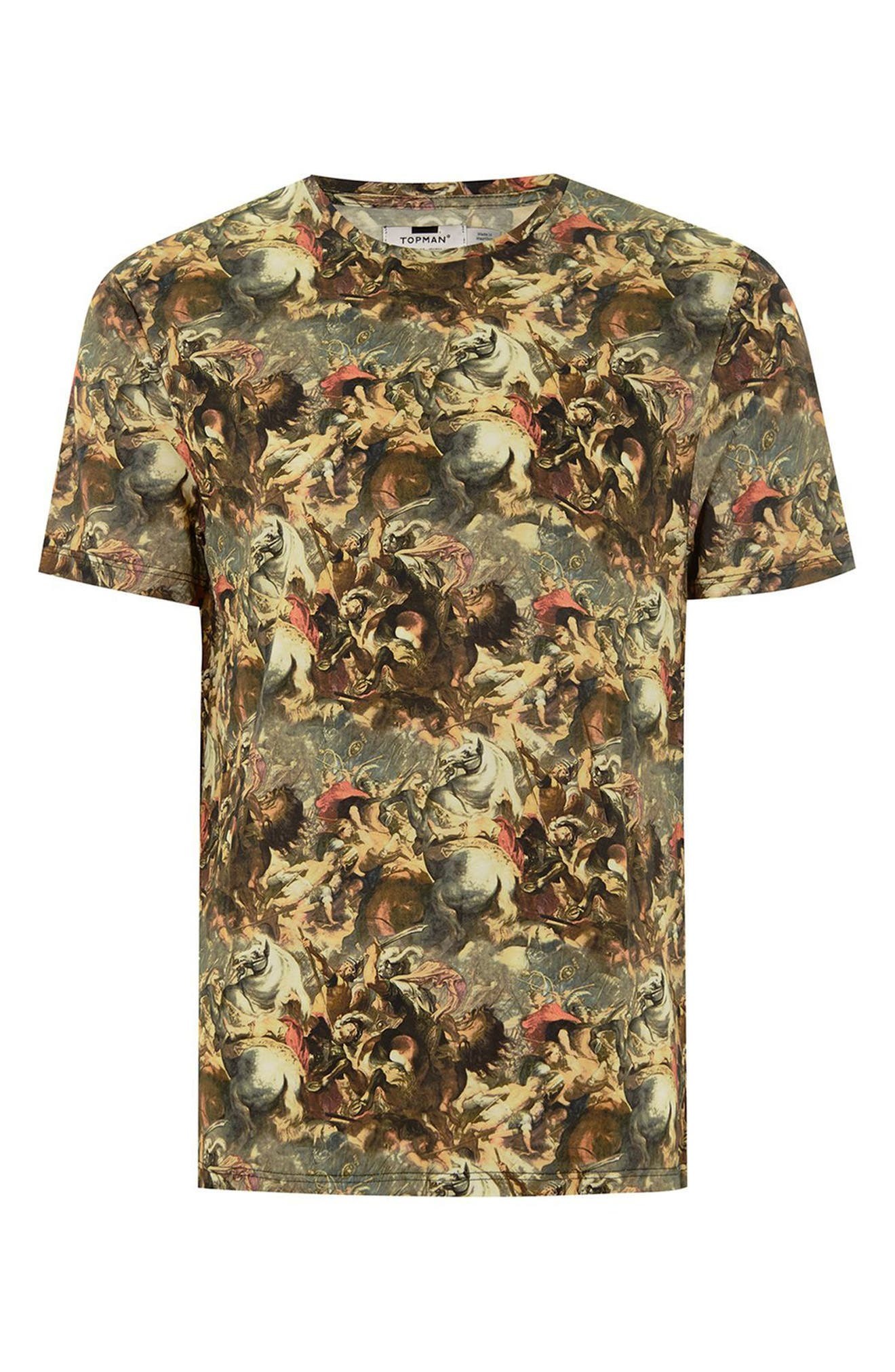 Battle Print T-Shirt,                             Alternate thumbnail 4, color,                             Brown Multi
