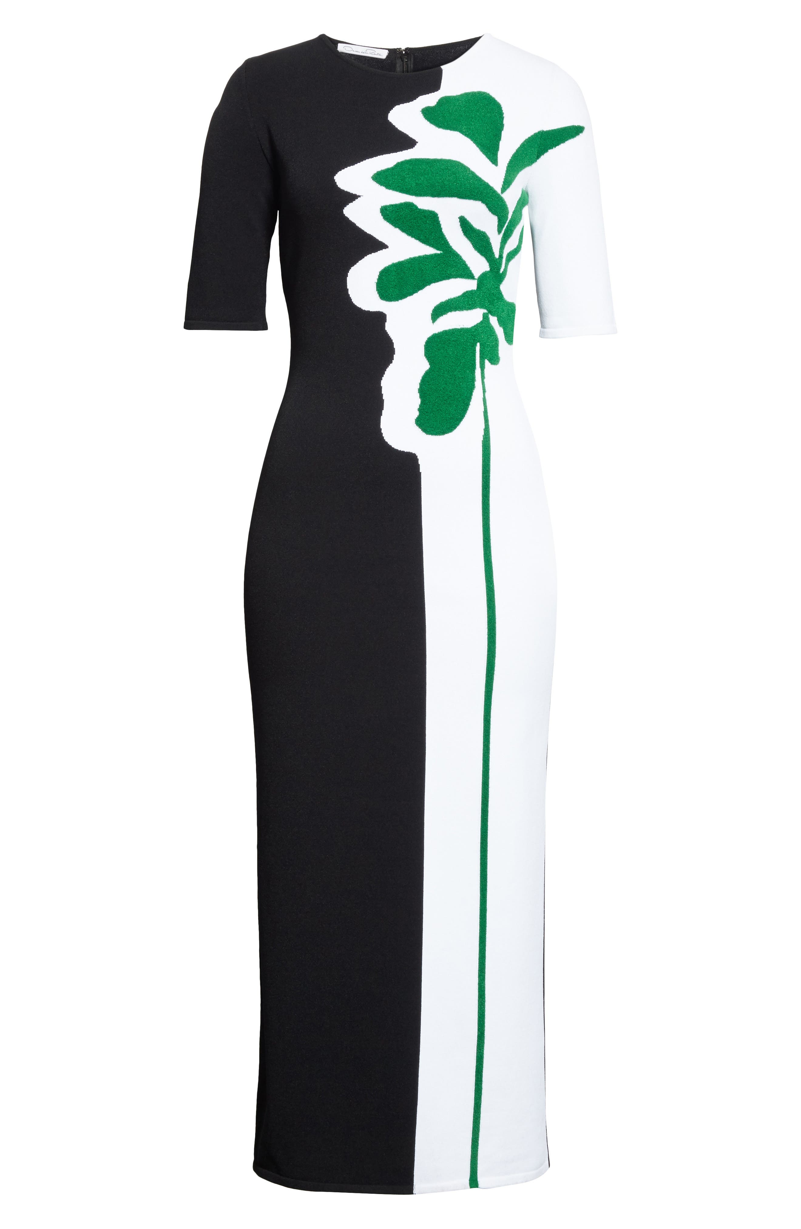 Intarsia Leaf Print Dress,                             Alternate thumbnail 7, color,                             White/ Black/ Evergreen