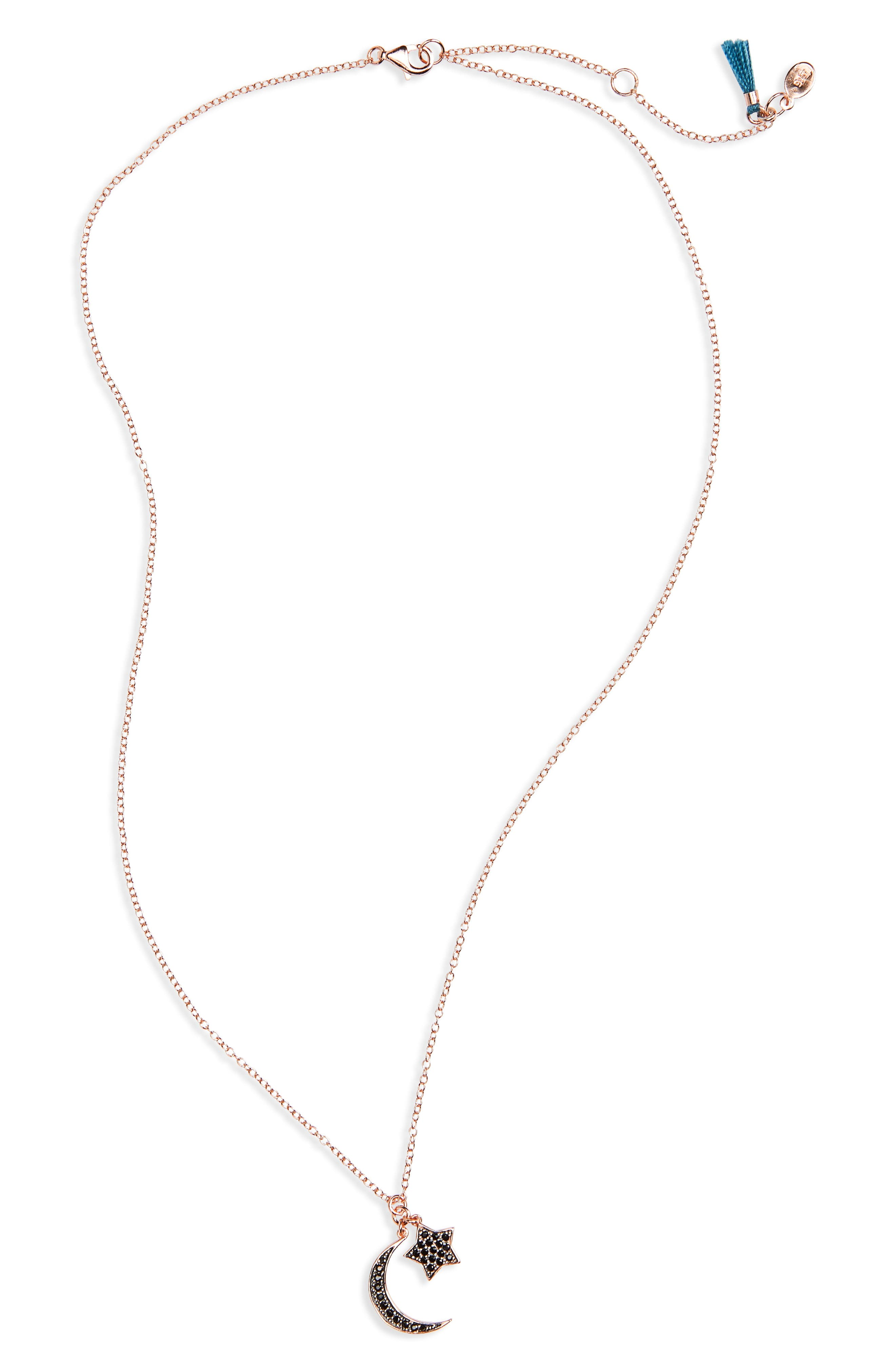Moon & Star Pendant Necklace,                         Main,                         color, Rose Gold