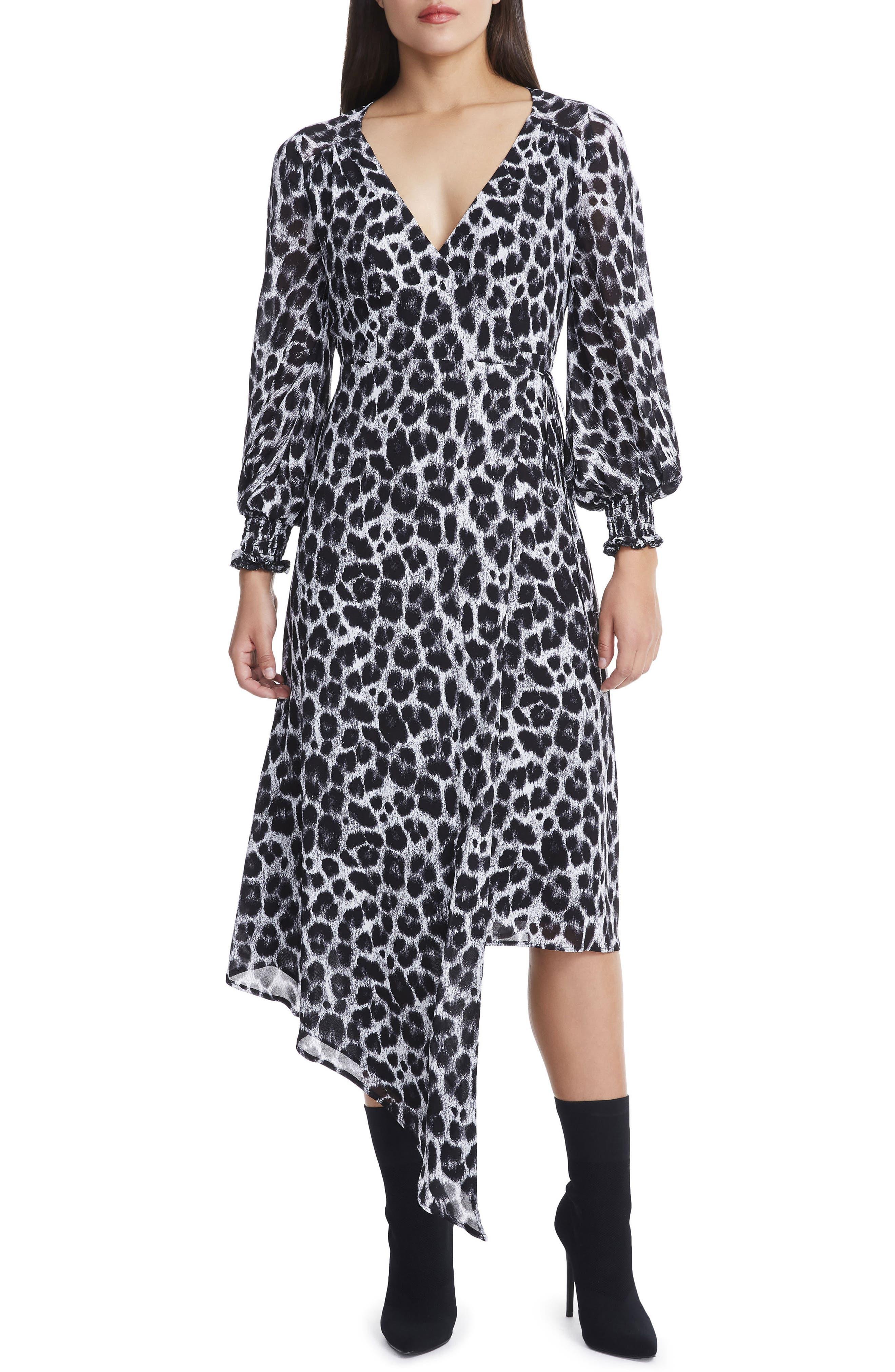 Amalfi Lantern Wrap Dress,                             Main thumbnail 1, color,                             Grey Leopard